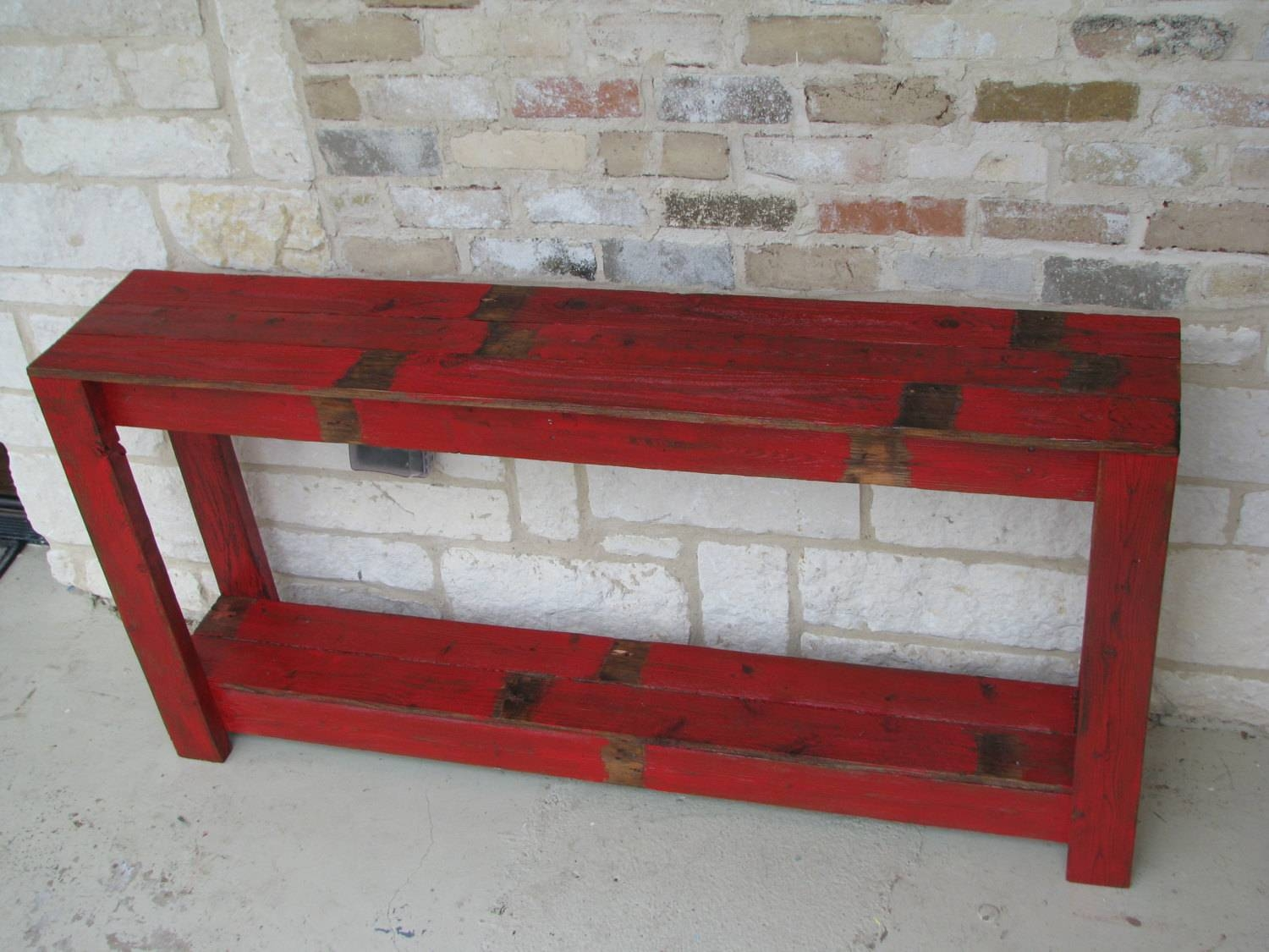 Rustic Sofa Table In Farmhouse Red with Red Sofa Tables (Image 5 of 15)