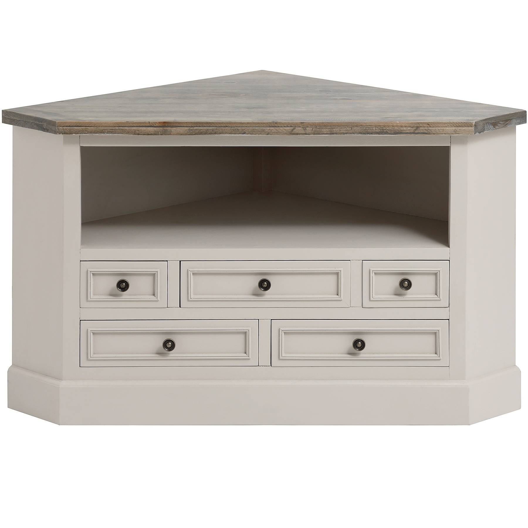 Rustic White Painted Walnut Wood Corner Tv Stand With Drawers Of Pertaining To White Corner Tv Cabinets (View 12 of 15)