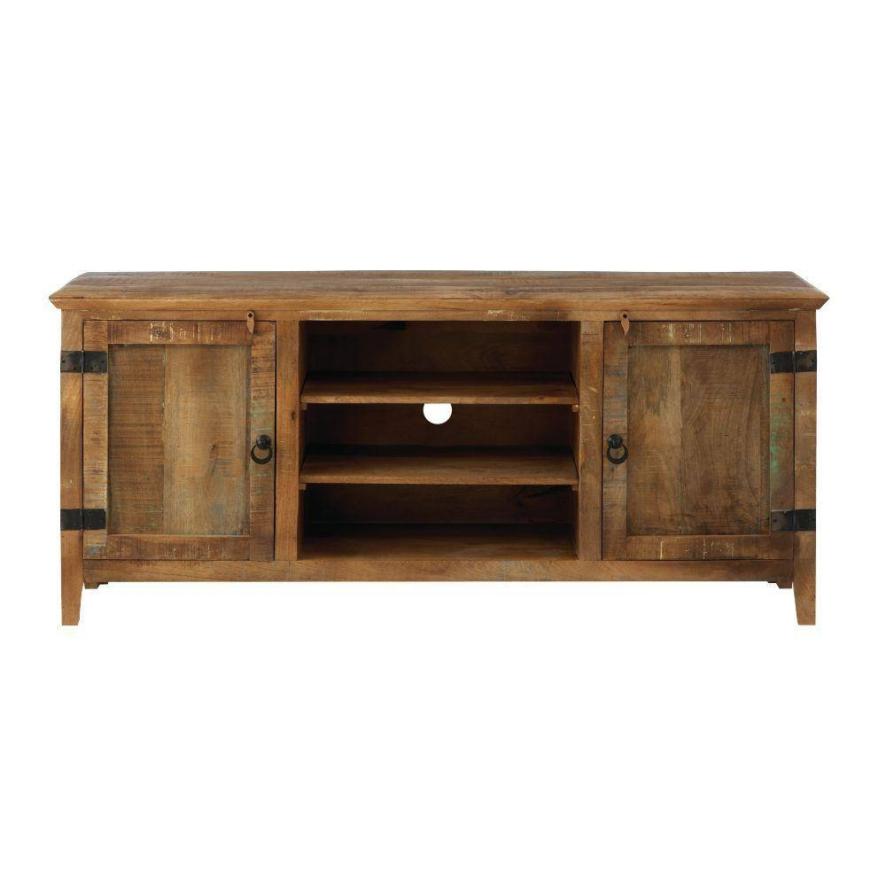 Rustic - Wood - Tv Stands - Living Room Furniture - The Home Depot throughout Wood Tv Entertainment Stands (Image 10 of 15)