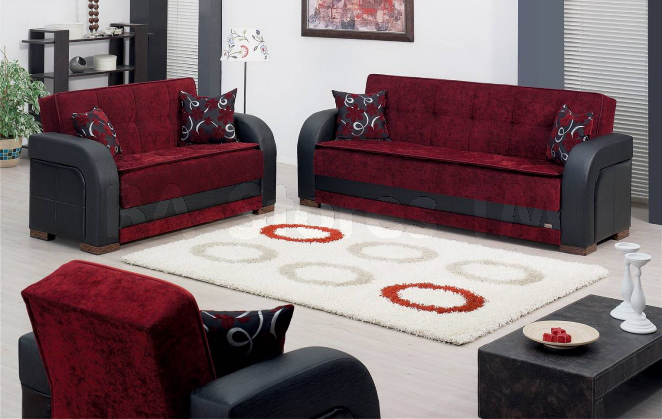 Sale: $1658.00 Paterson 3 Pc Black And Burgundy Sofa Set (Sofa inside Burgundy Sectional Sofas (Image 9 of 15)