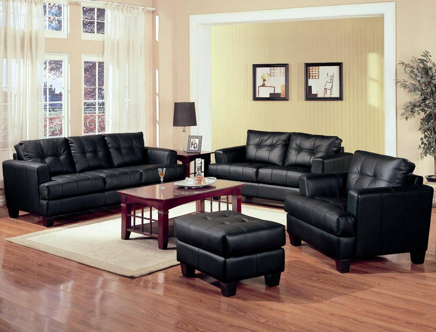 Samuel Black Leather Sofa - Steal-A-Sofa Furniture Outlet Los pertaining to Black Leather Sofas and Loveseats (Image 13 of 15)