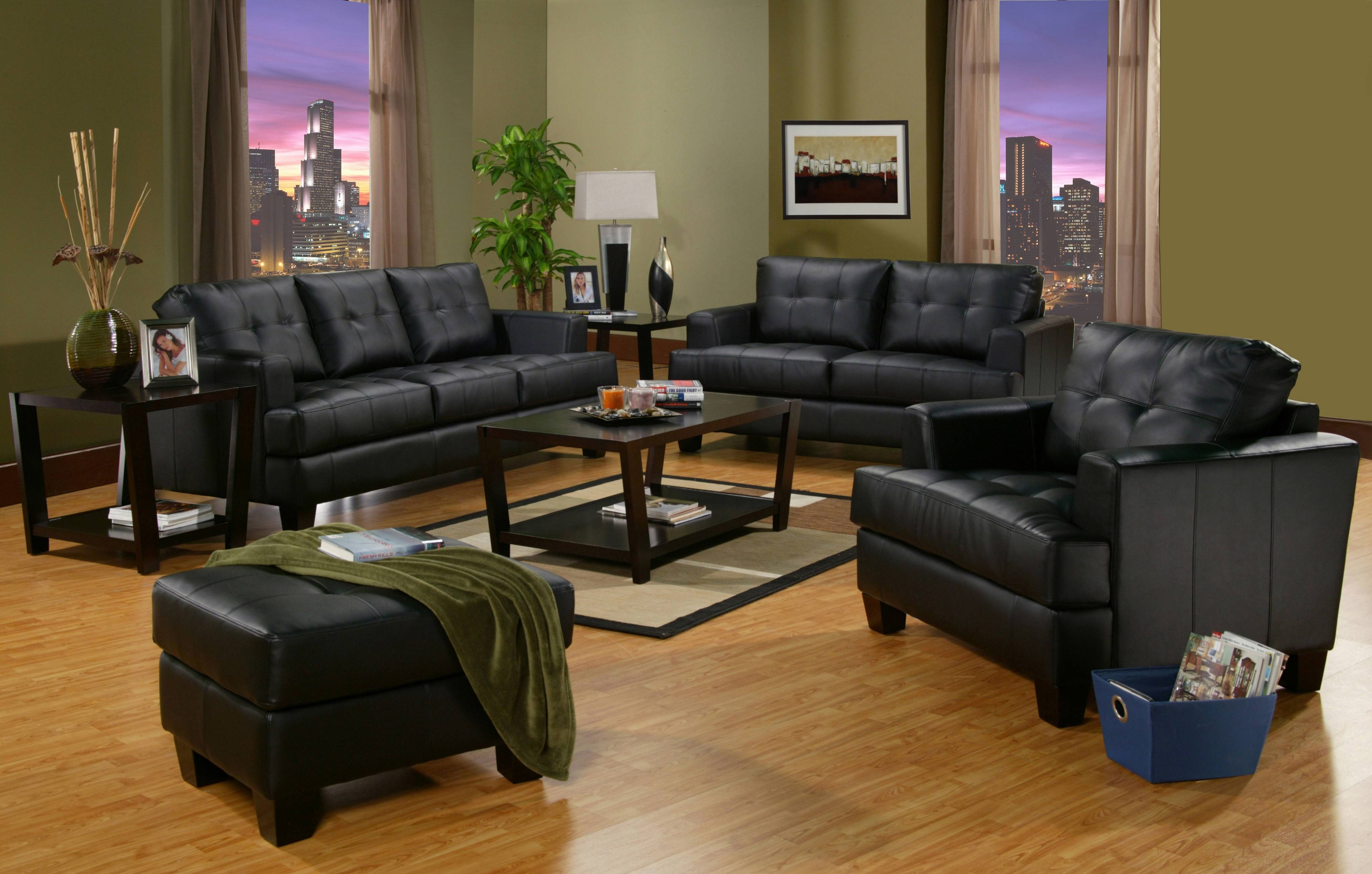 Samuel Contemporary Black Leather Sofa & Loveseat Package | La pertaining to Black Leather Sofas and Loveseat Sets (Image 14 of 15)