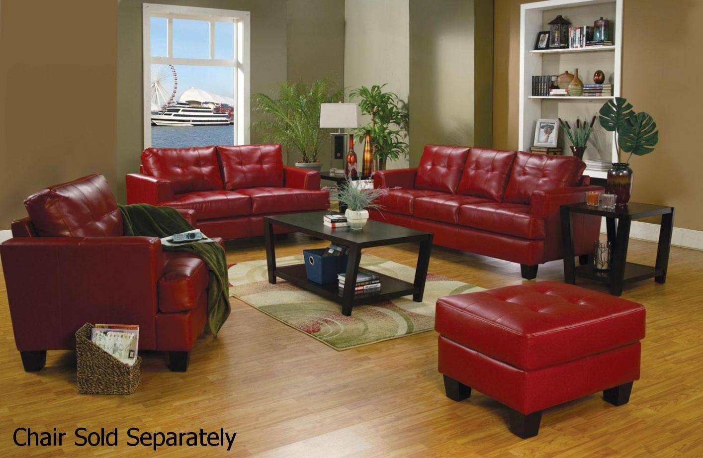 Samuel Red Leather Sofa And Loveseat Set - Steal-A-Sofa Furniture inside Black Leather Sofas And Loveseat Sets (Image 15 of 15)
