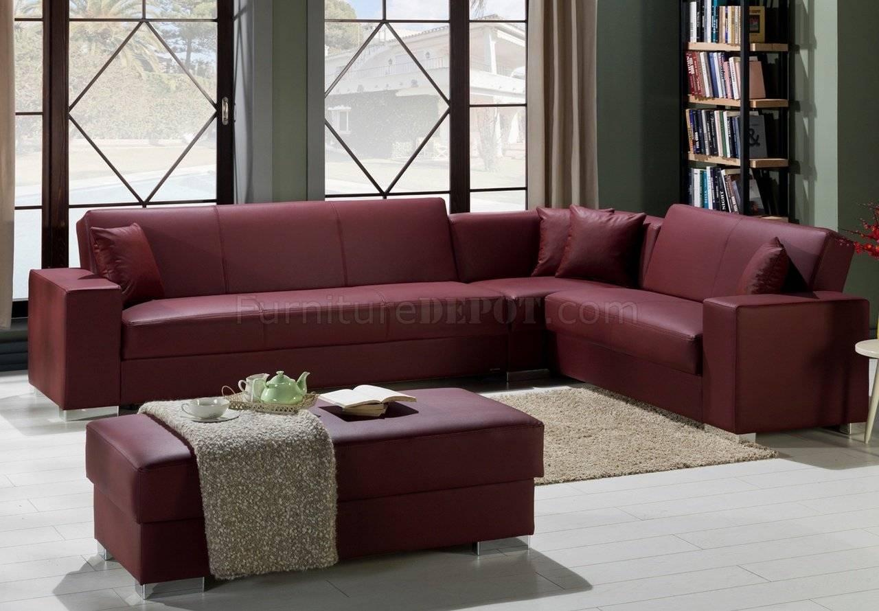 Santa Glory Burgundy Modular Sectional Sofa In Pusunset within Burgundy Sectional Sofas (Image 11 of 15)