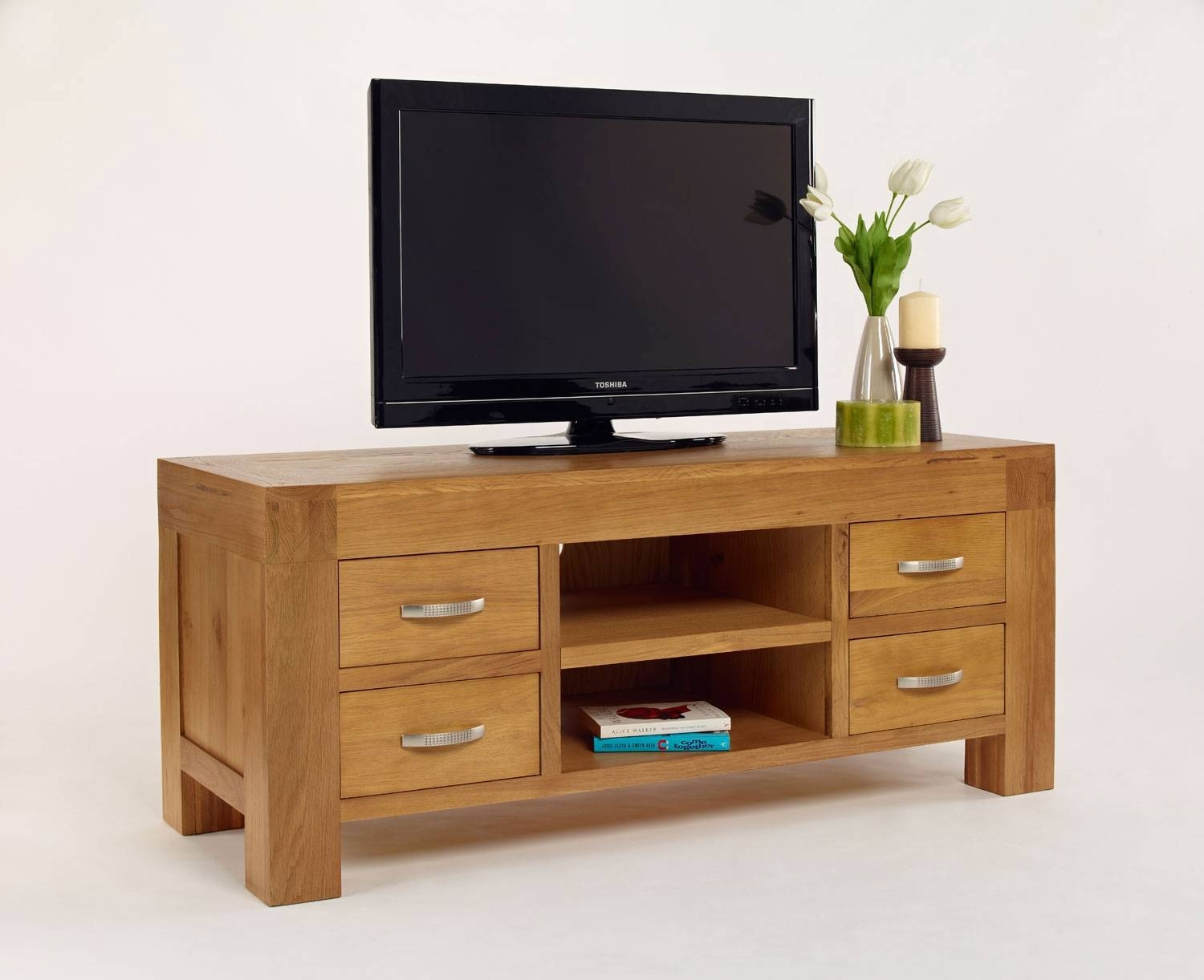 Santana Blonde Oak Tv Unit - 4 Drawers. Free Delivery in Chunky Oak Tv Unit (Image 13 of 15)