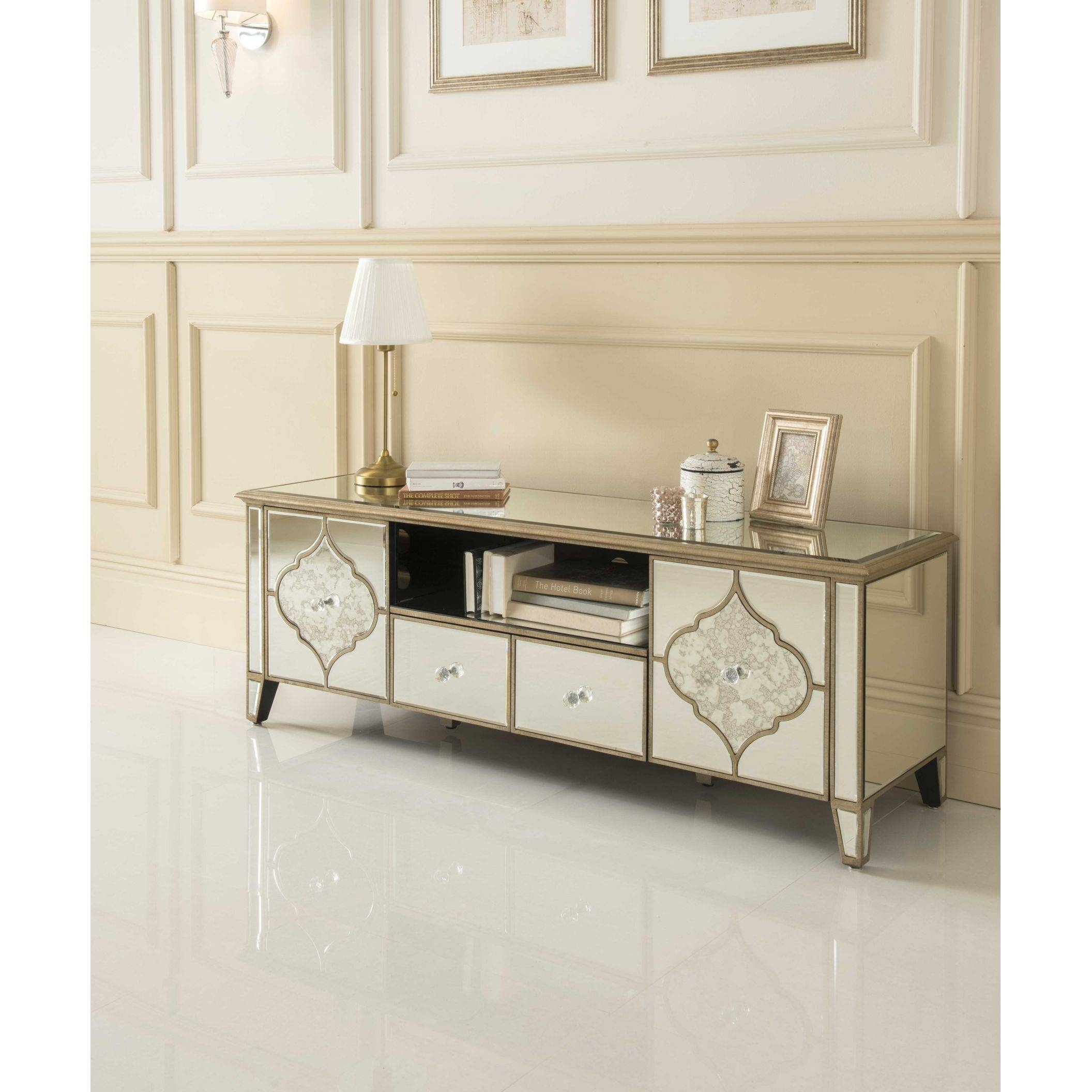Sassari Mirrored Tv Cabinet | Glass Furniture intended for Mirrored Tv Cabinets (Image 10 of 15)