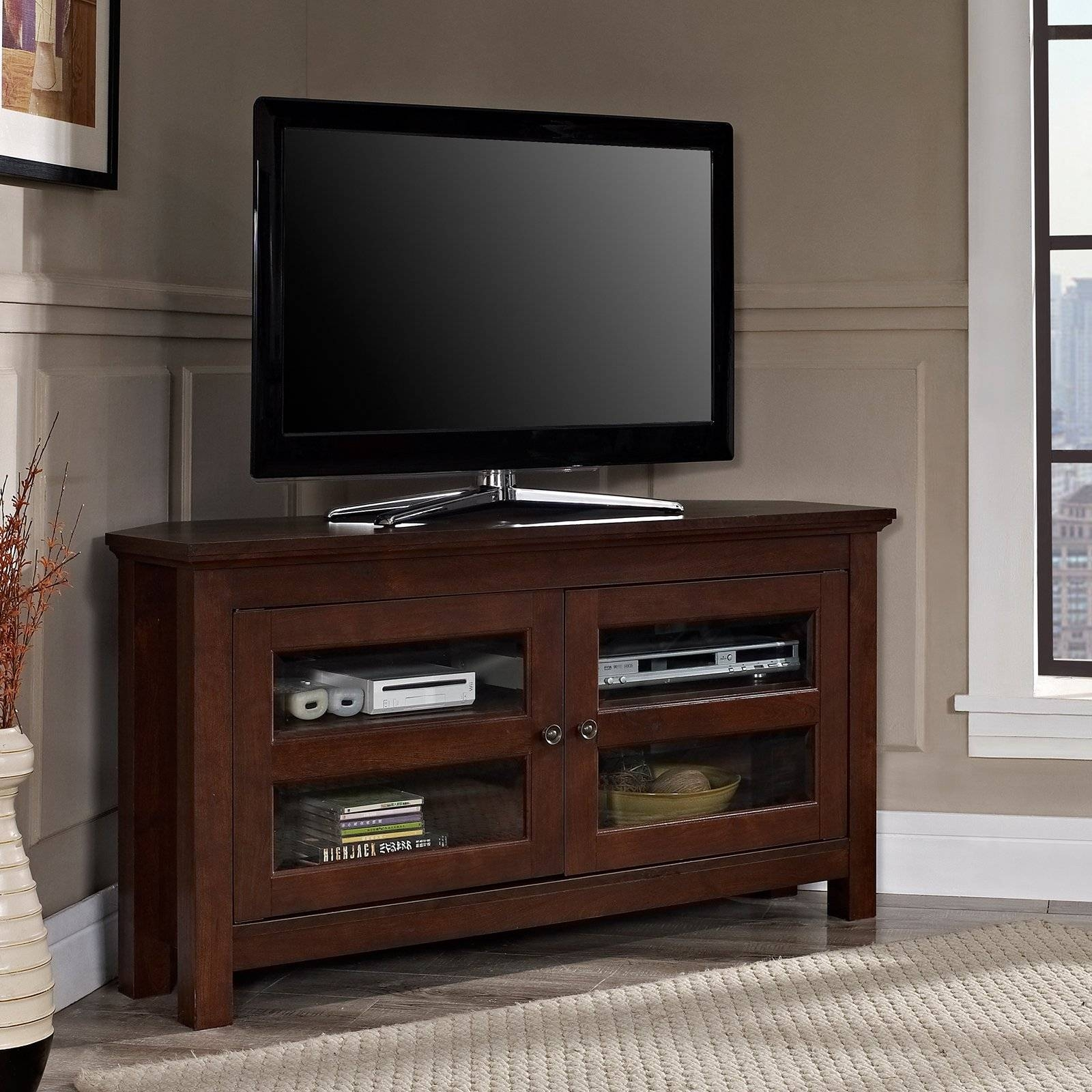 Sauder 42 In. Barrister Lane Corner Tv Stand - Salt Oak | Hayneedle within Wooden Corner Tv Cabinets (Image 8 of 15)