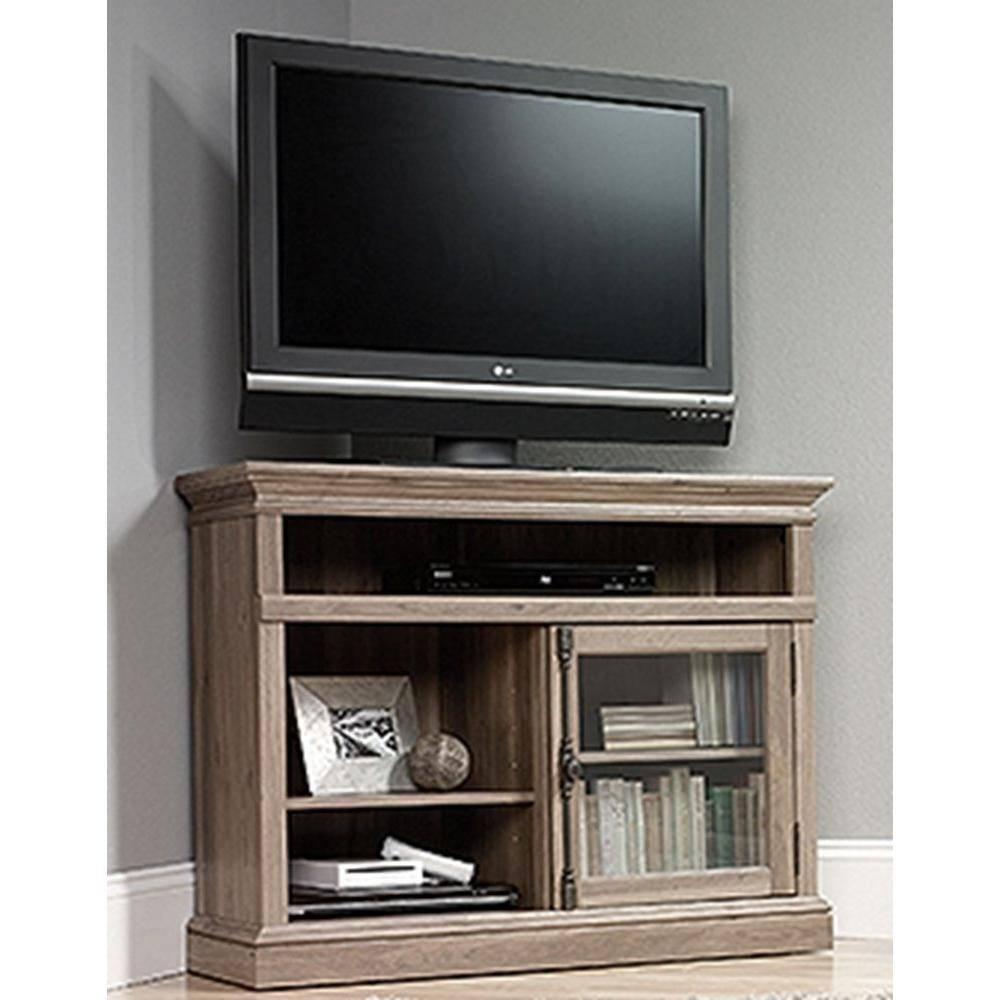 Sauder Barrister Lane Salt Oak Storage Entertainment Center-414729 for Grey Corner Tv Stands (Image 10 of 15)