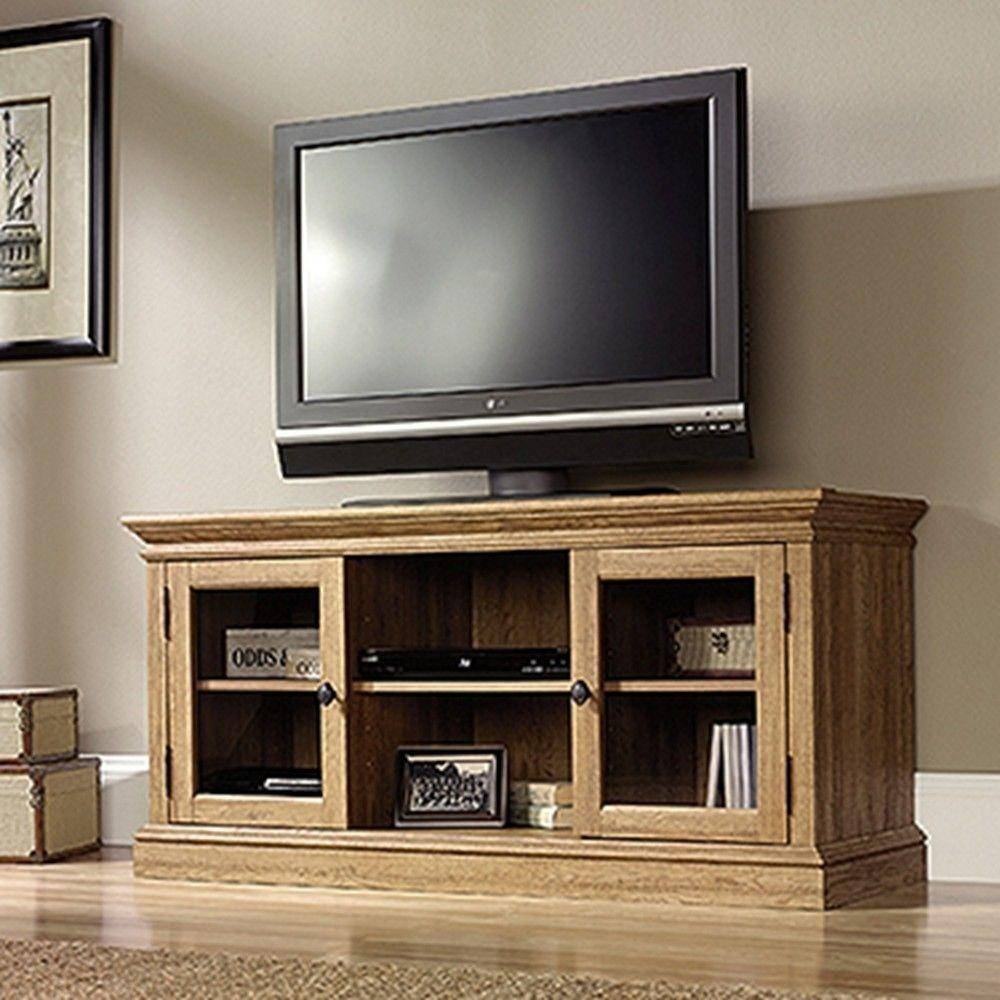 Sauder Barrister Lane Scribed Oak Storage Entertainment Center pertaining to Wood Tv Entertainment Stands (Image 11 of 15)