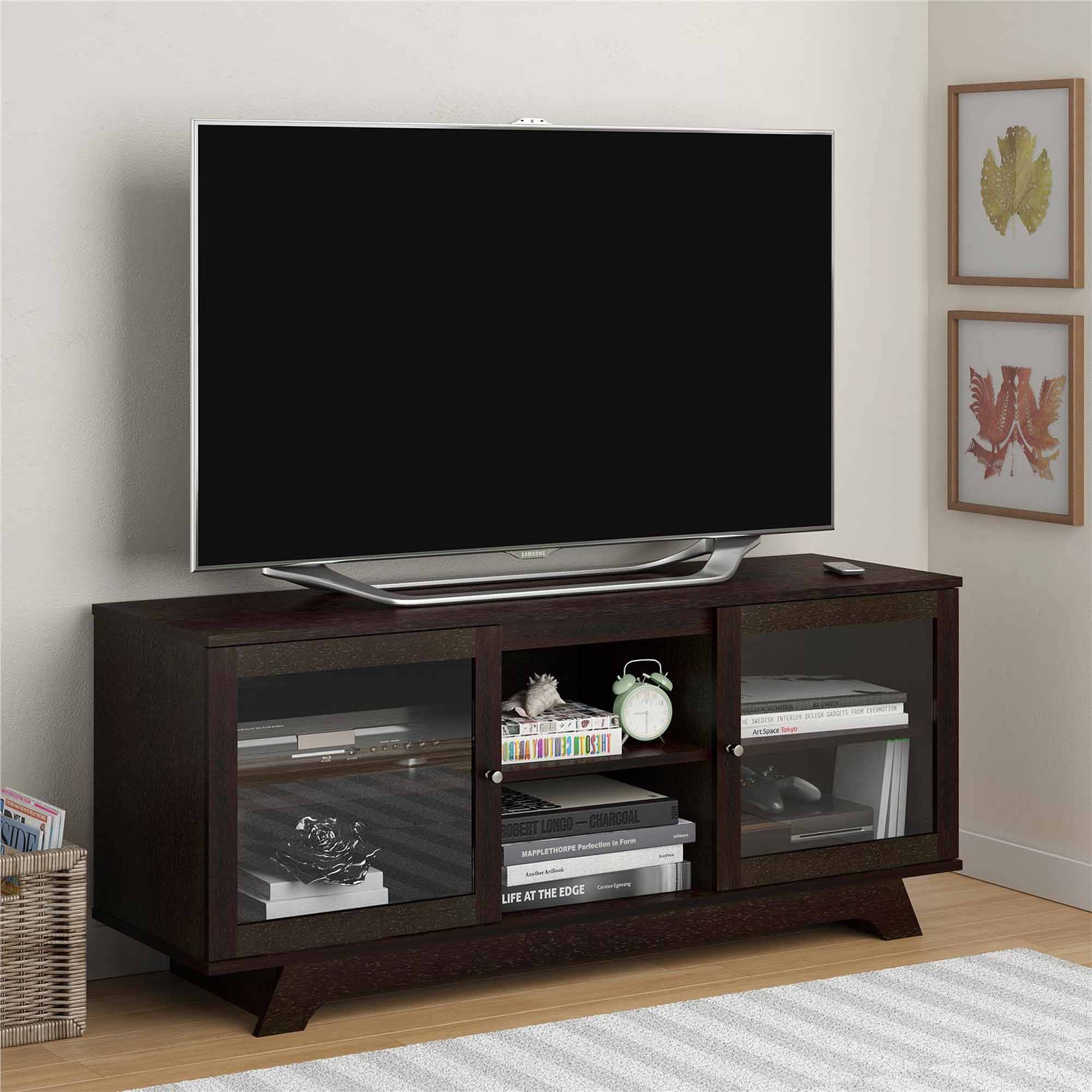 "Sauder Black Tv Stand For Tvs With Bases Up To 39"" - Walmart pertaining to 24 Inch Deep Tv Stands (Image 6 of 15)"