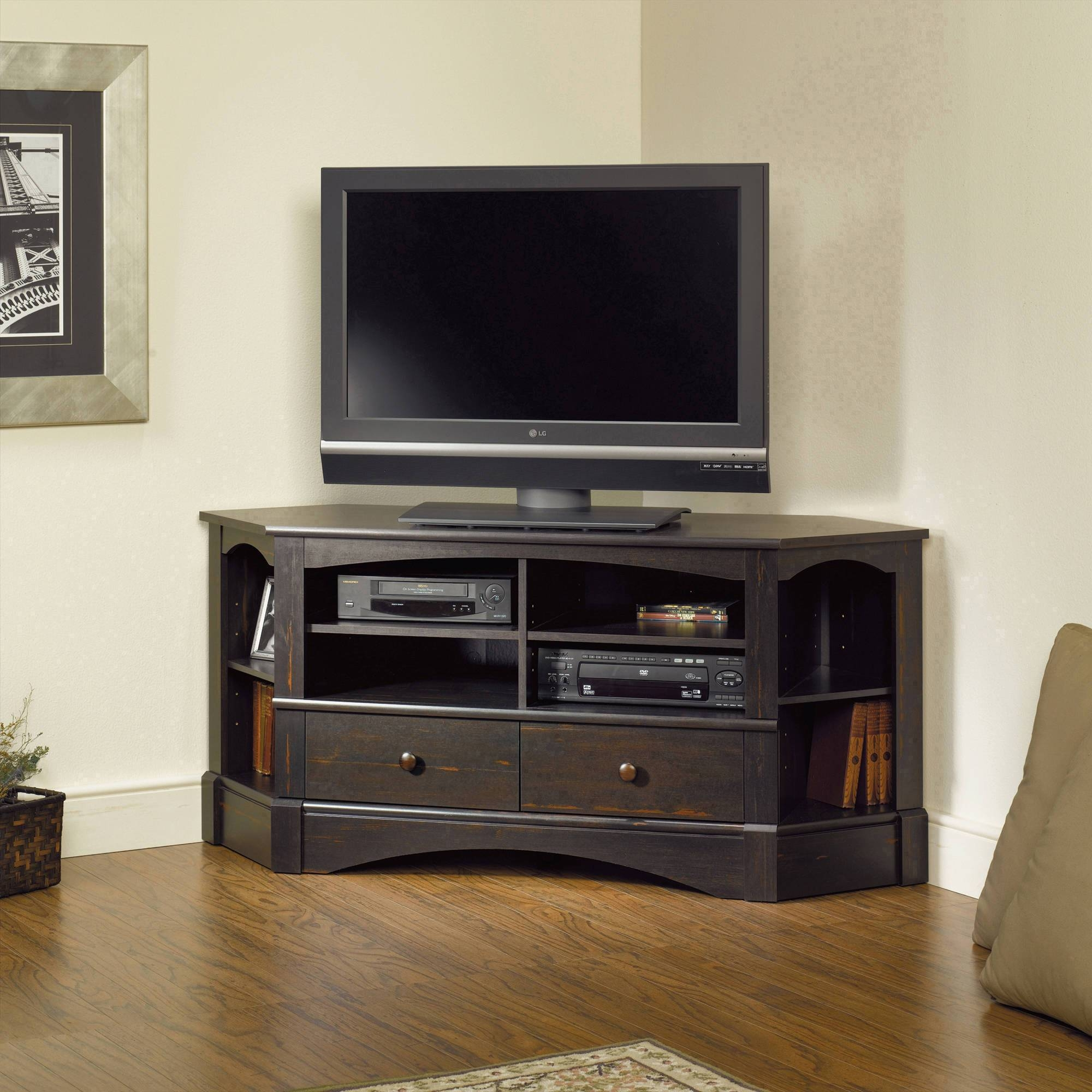"""Sauder Black Tv Stand For Tvs With Bases Up To 39"""" – Walmart With Regard To Como Tv Stands (View 9 of 15)"""