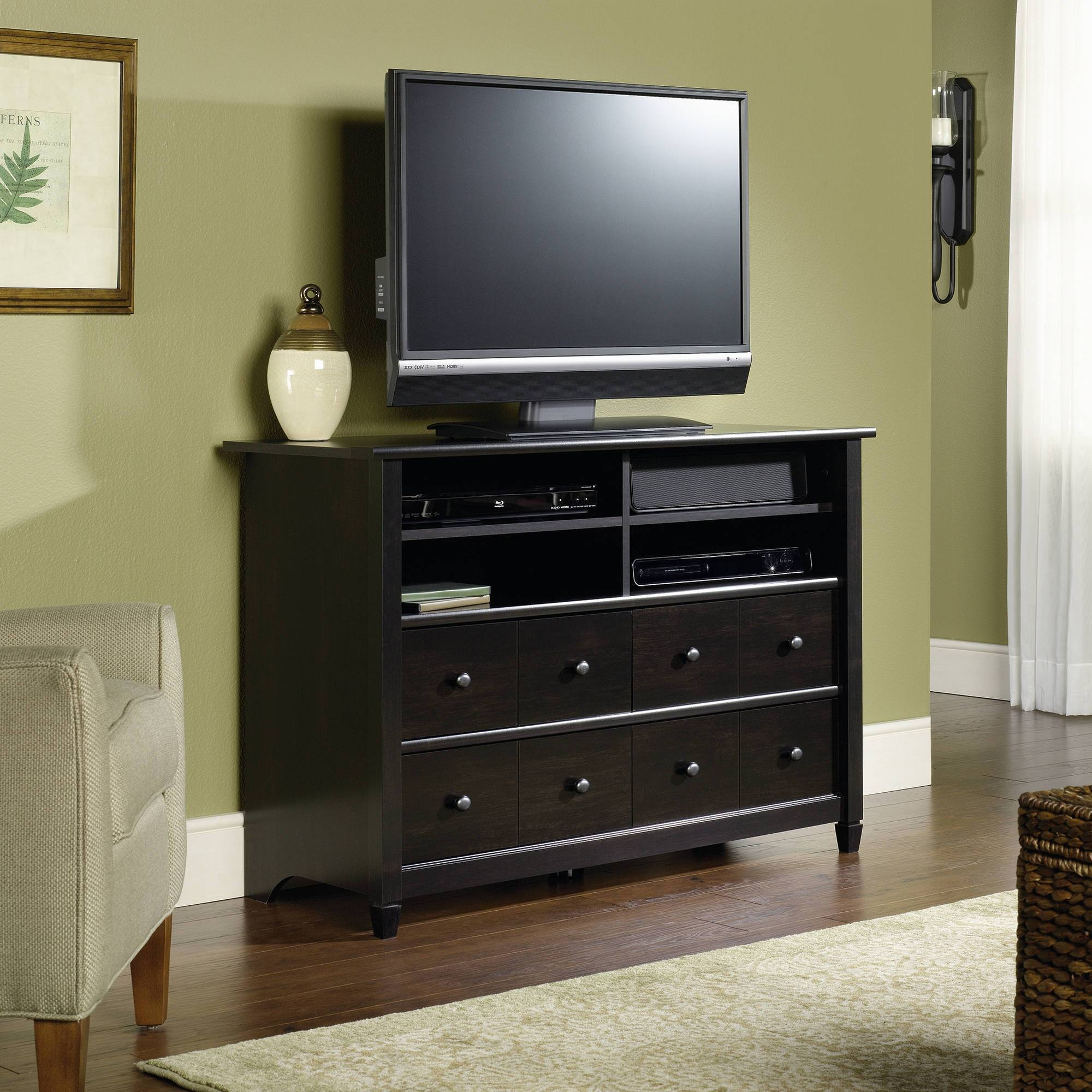 "Sauder Edge Water 45"" Highboy Tv Stand In Estate Black - Walmart for Tall Black Tv Cabinets (Image 10 of 15)"