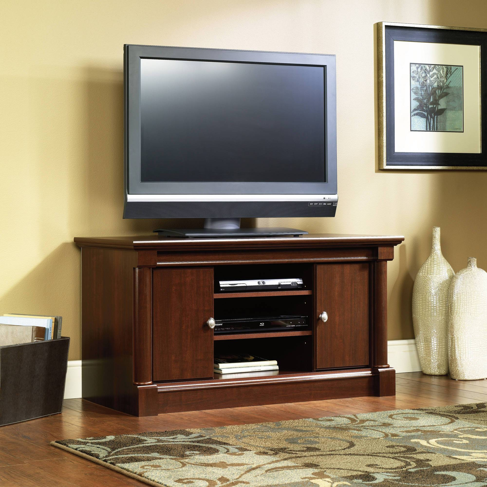 Sauder Palladia Mid Size Tv Stand In Cherry – Walmart Within Como Tv Stands (View 11 of 15)