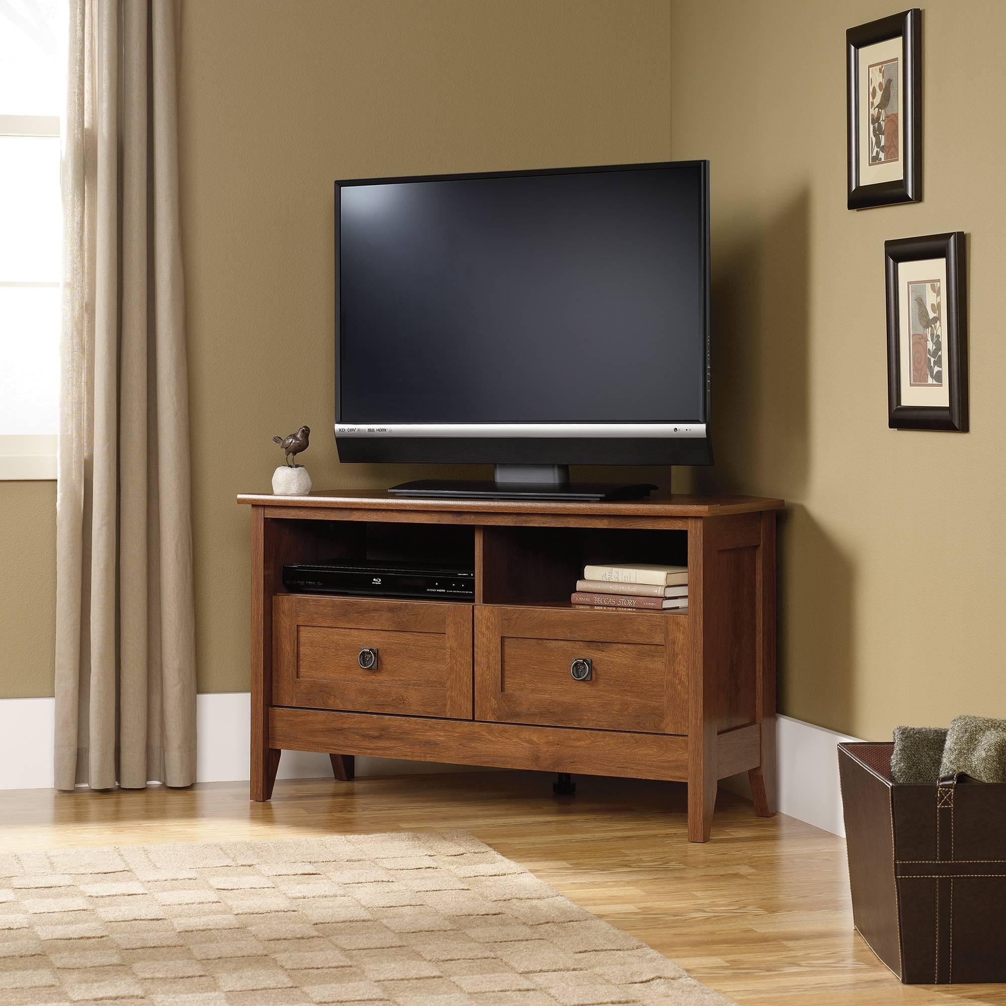 Popular Photo of Corner Oak Tv Stands For Flat Screen