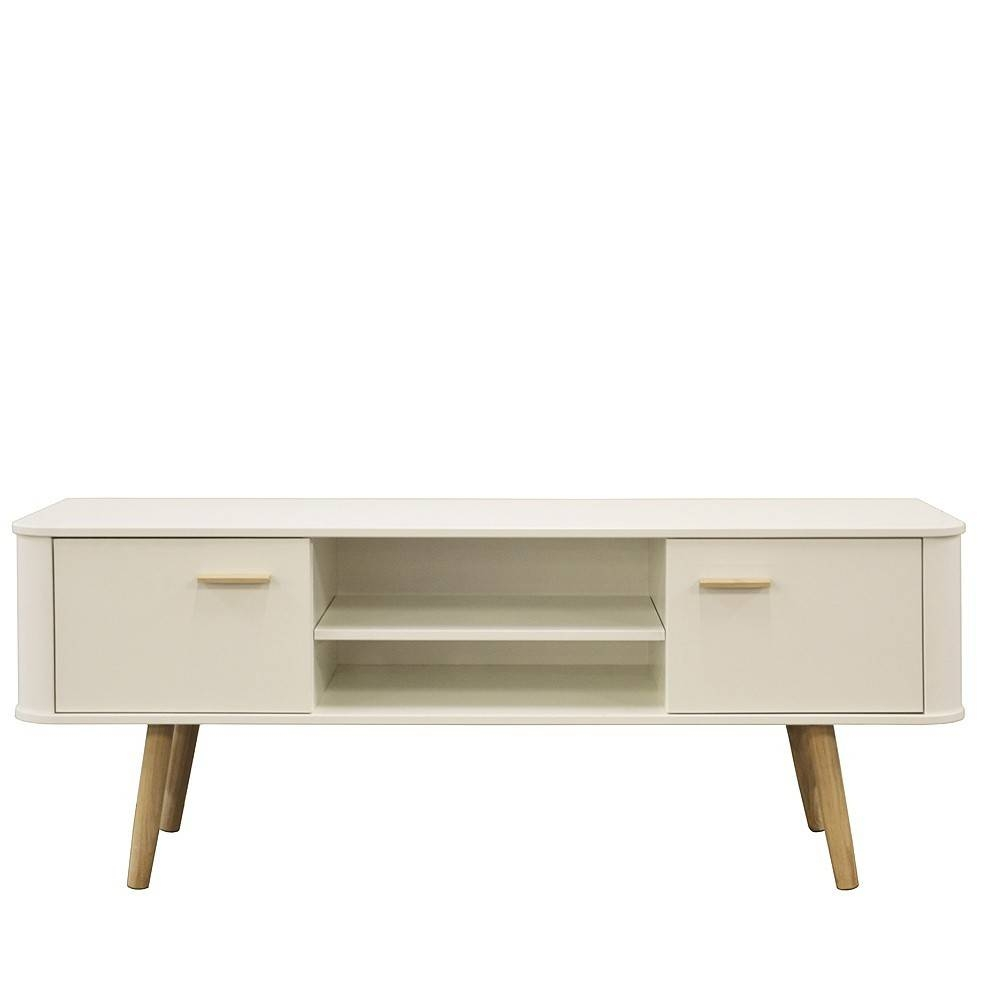 Scandinavian Style Wide Tv Cabinet White & Oak Pertaining To Scandinavian Tv Stands (View 10 of 15)