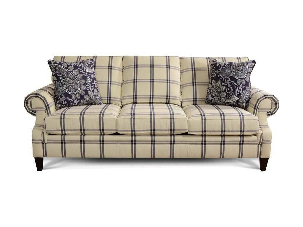 Seals 3×25 Blue And Cream Plaid Sofa – Evergreen Furniture pertaining to Blue Plaid Sofas (Image 9 of 15)