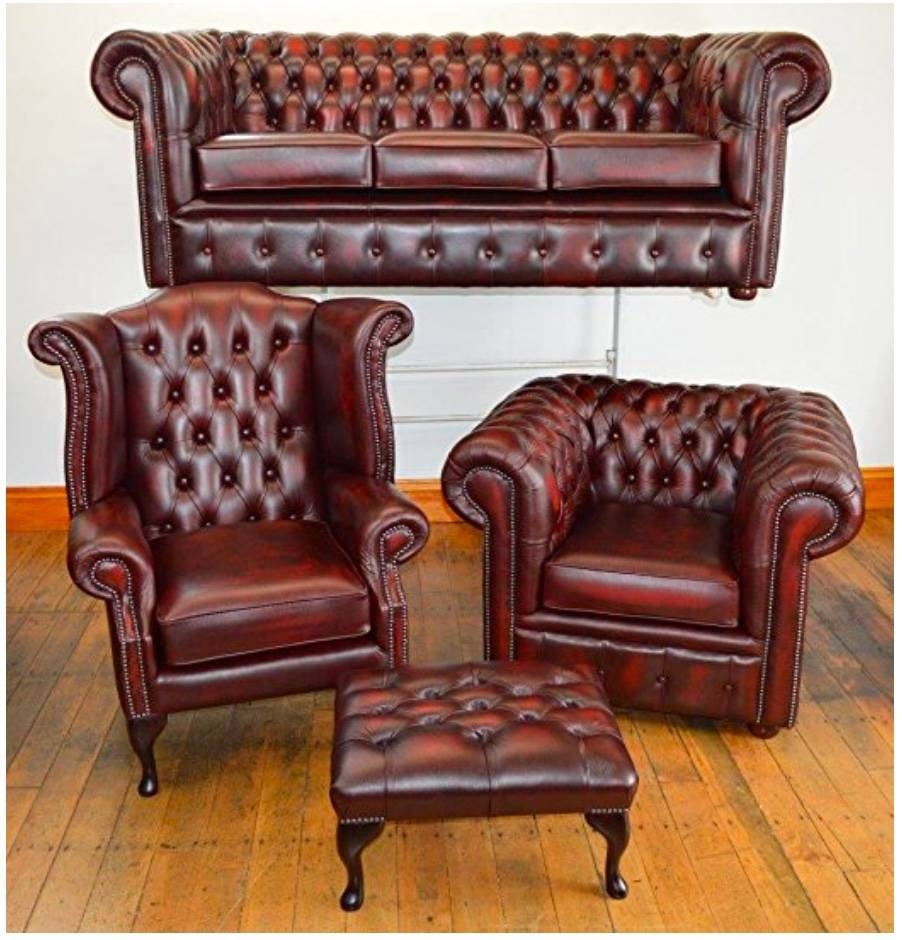 Second Hand Chesterfield Sofa with Red Chesterfield Chairs (Image 13 of 15)