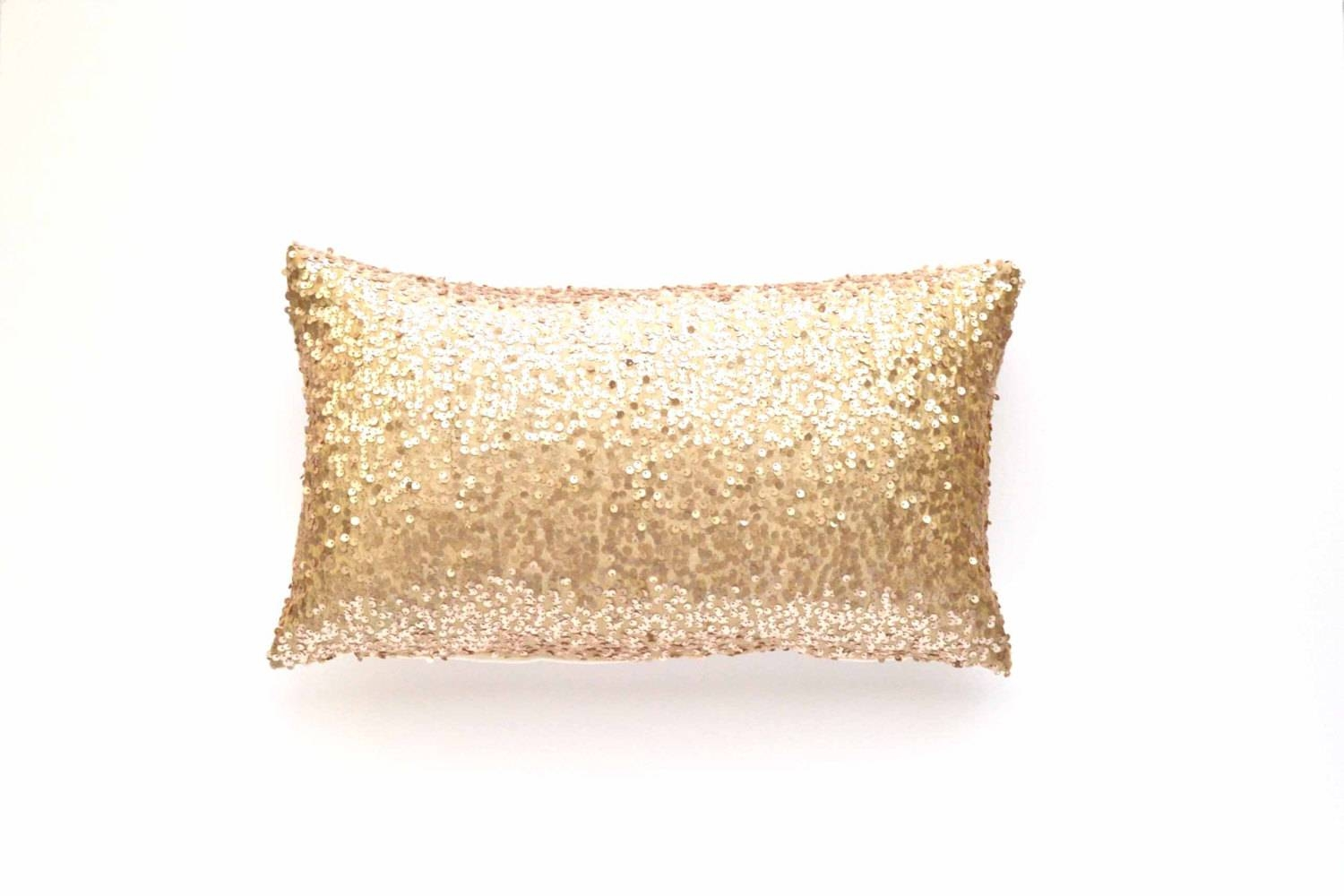 Sequin Lumbar Pillow Cover - Champagne Sequin - 12 X 20 - Throw with Gold Sofa Pillows (Image 10 of 15)