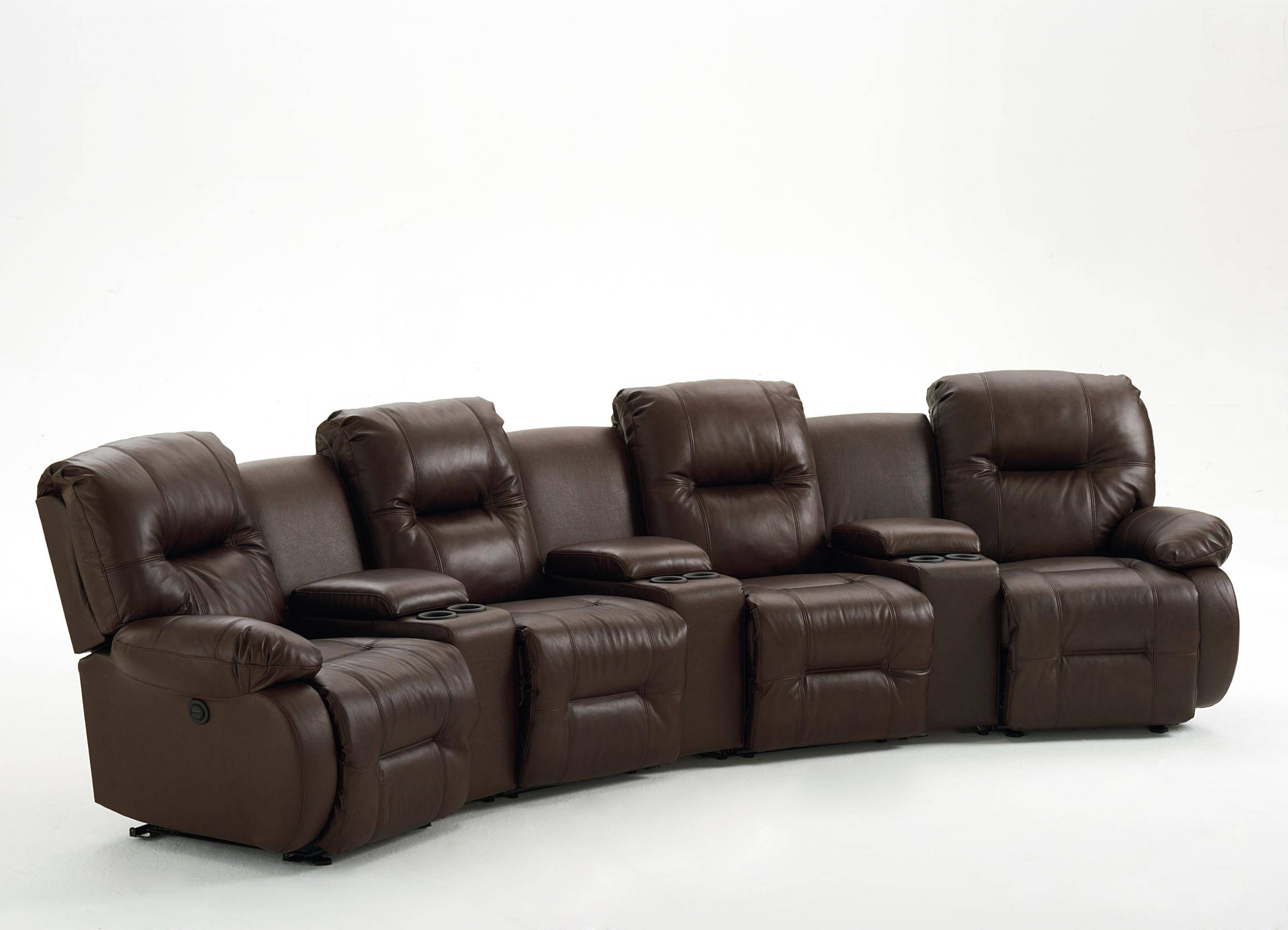 Seven Piece Power Reclining Home Theater Group With Three Drink intended for Sofas With Drink Holder (Image 12 of 15)