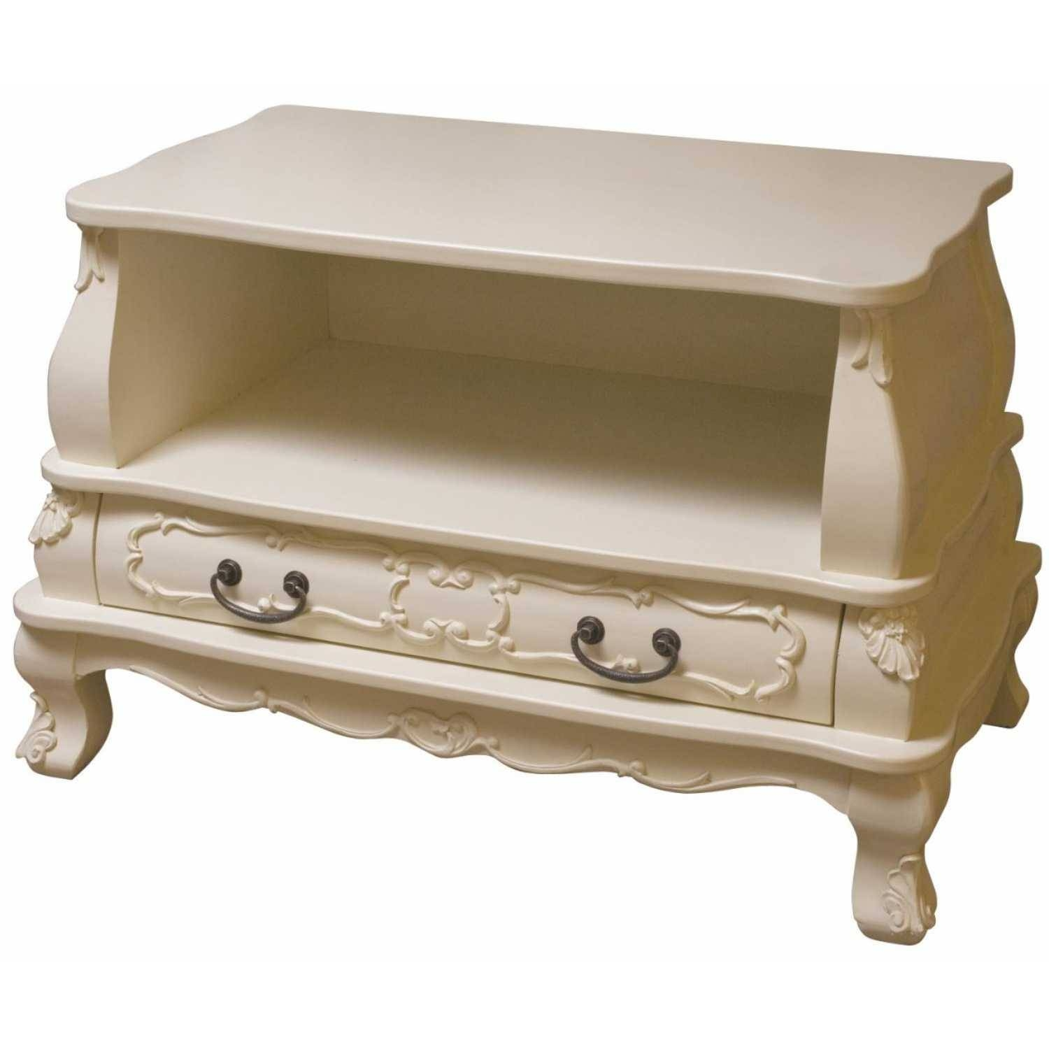 Shabby Chic Cream Painted Brittany Tv Cabinet with regard to Cream Tv Cabinets (Image 7 of 15)