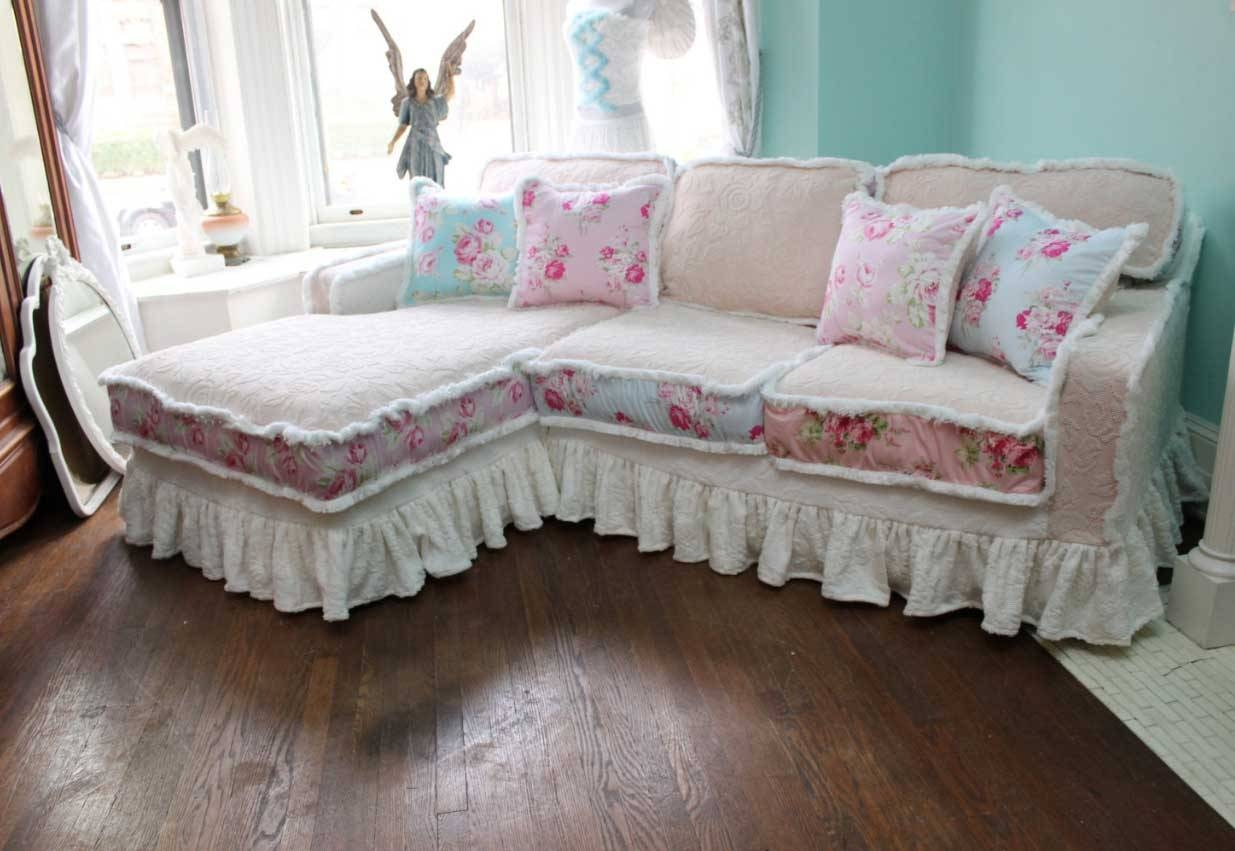 Shabby Chic Slipcovers For Sofas Vintage Rose Chenille Bedspread with Shabby Chic Slipcovers (Image 8 of 15)