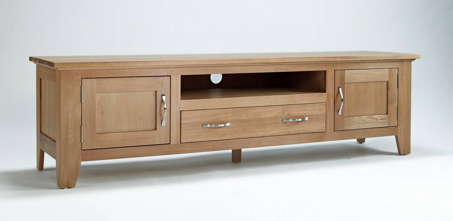 Sherwood Oak Tv Unit - Large | 50% Off Rrp | Oak Furniture Solutions intended for Solid Oak Tv Cabinets (Image 13 of 15)