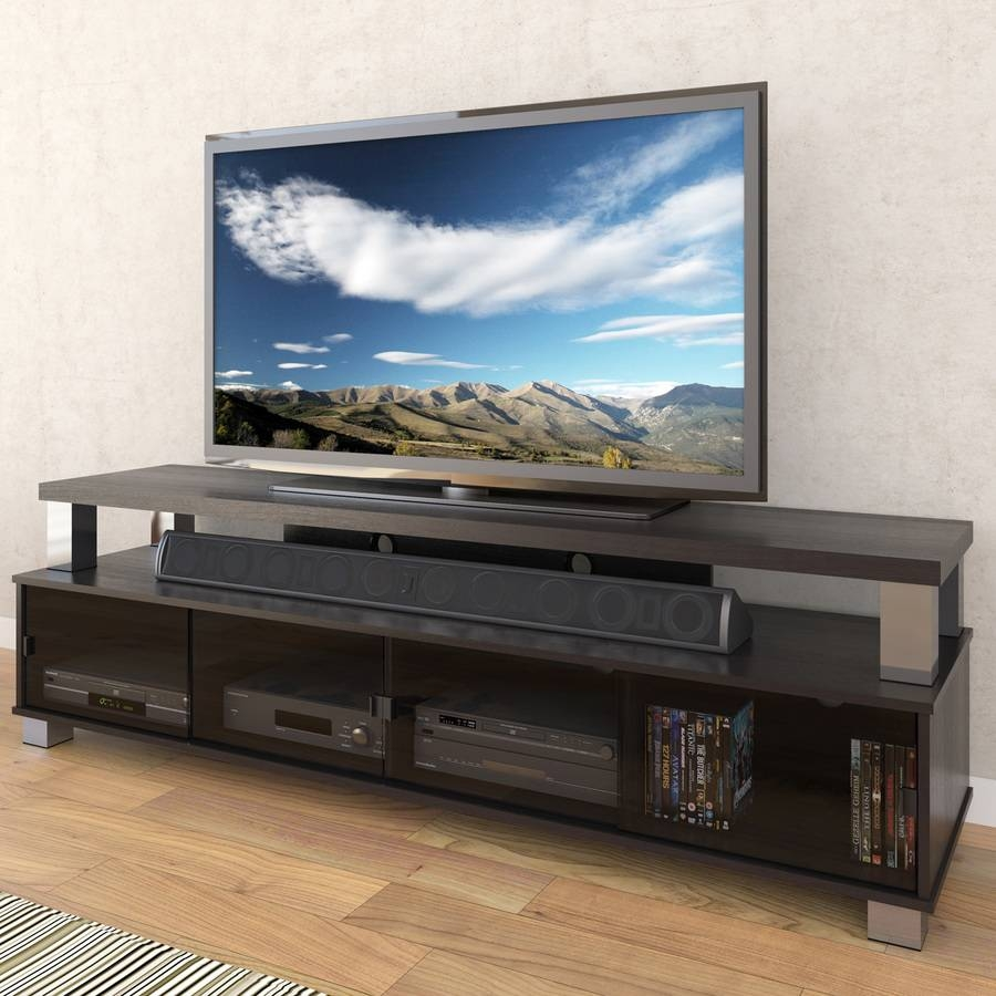 Shop Corliving Bromley Ravenwood Black Tv Cabinet At Lowes Inside Rectangular Tv Stands (View 2 of 15)