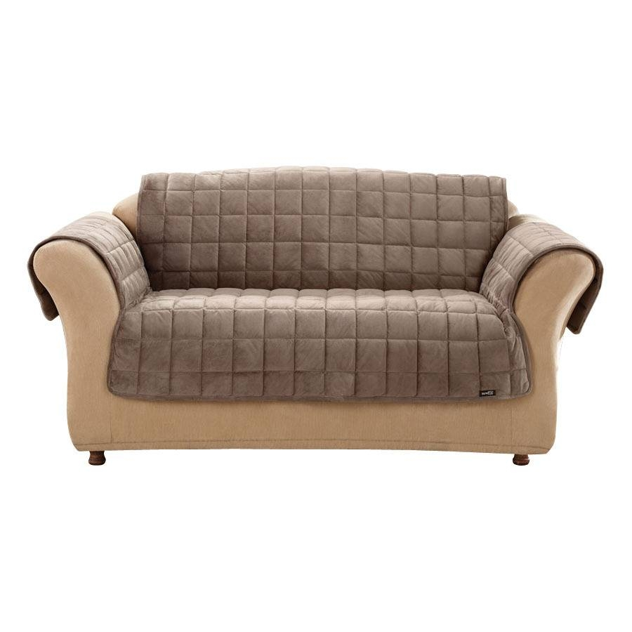 Shop Deluxe Quilted Brown Duck (Canvas) Sofa Slipcover At Lowes Inside Canvas Sofa Slipcovers (View 9 of 15)