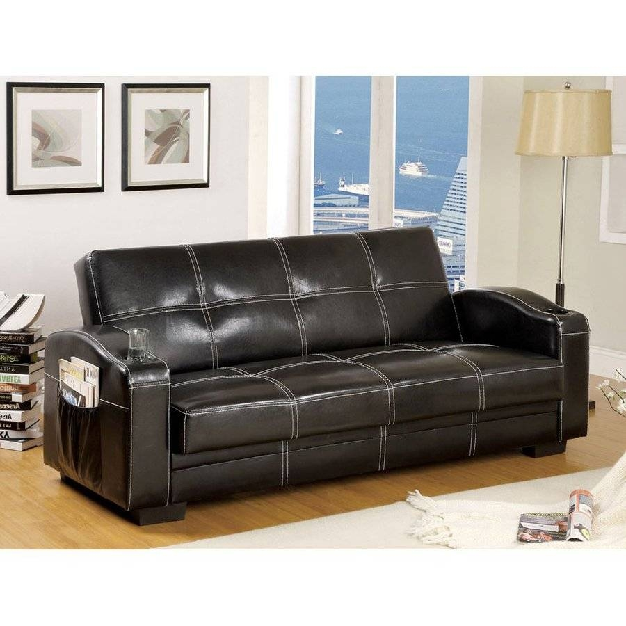 Shop Furniture Of America Colona Black Faux Leather Futon At Lowes inside Faux Leather Futon Sofas (Image 14 of 15)