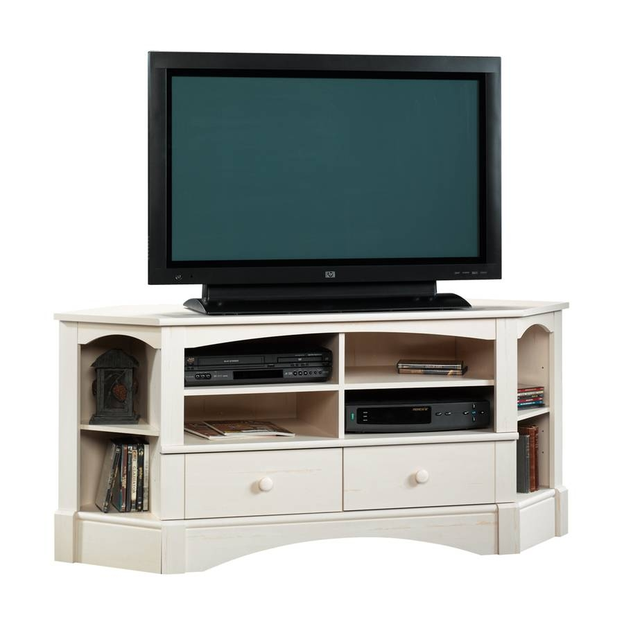 Shop Sauder Harbor View Antiqued White Tv Stand At Lowes intended for Corner Tv Stands For 60 Inch Flat Screens (Image 11 of 15)
