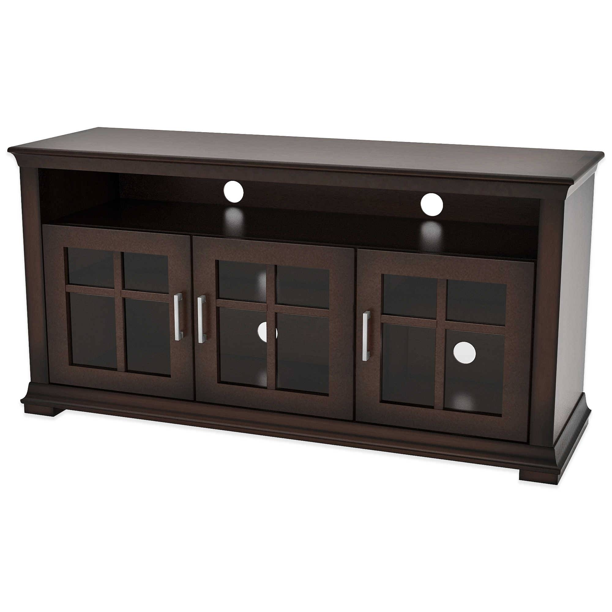 Short Espresso Wood Tv Stand With Triple Glass Doors And Open regarding Wooden Tv Cabinets With Glass Doors (Image 13 of 15)