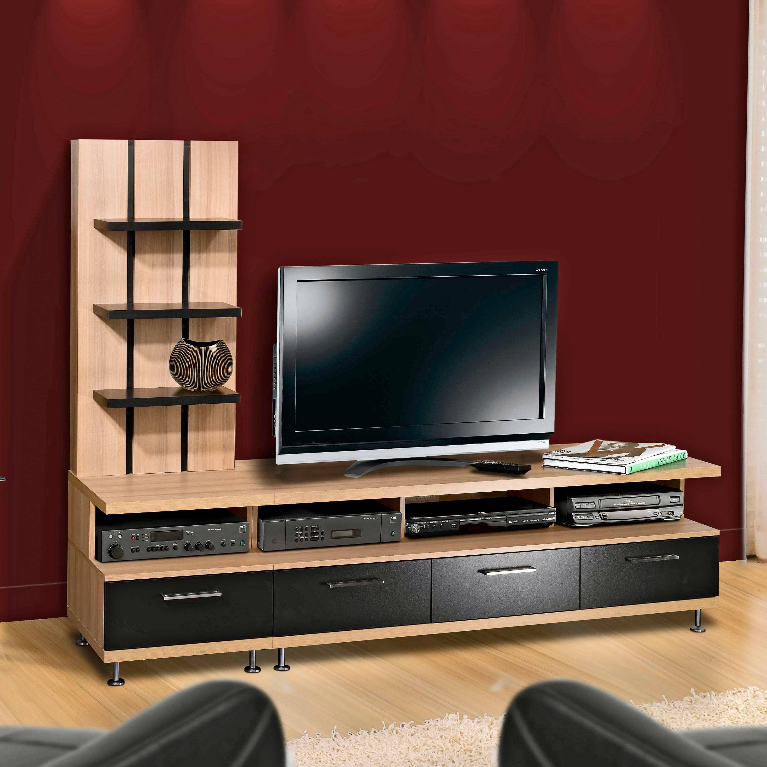 Short Wooden And Metal Tv Stand Entertainment Center With Drawers Throughout Tv Stands With Drawers And Shelves (View 11 of 15)