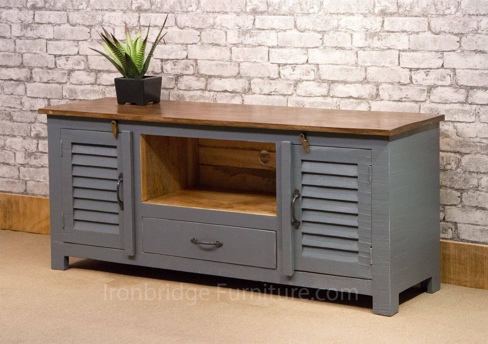 Si 518 Vintage Style Painted Long Tv Cabinet – Dusky Grey With Vintage Style Tv Cabinets (View 15 of 15)