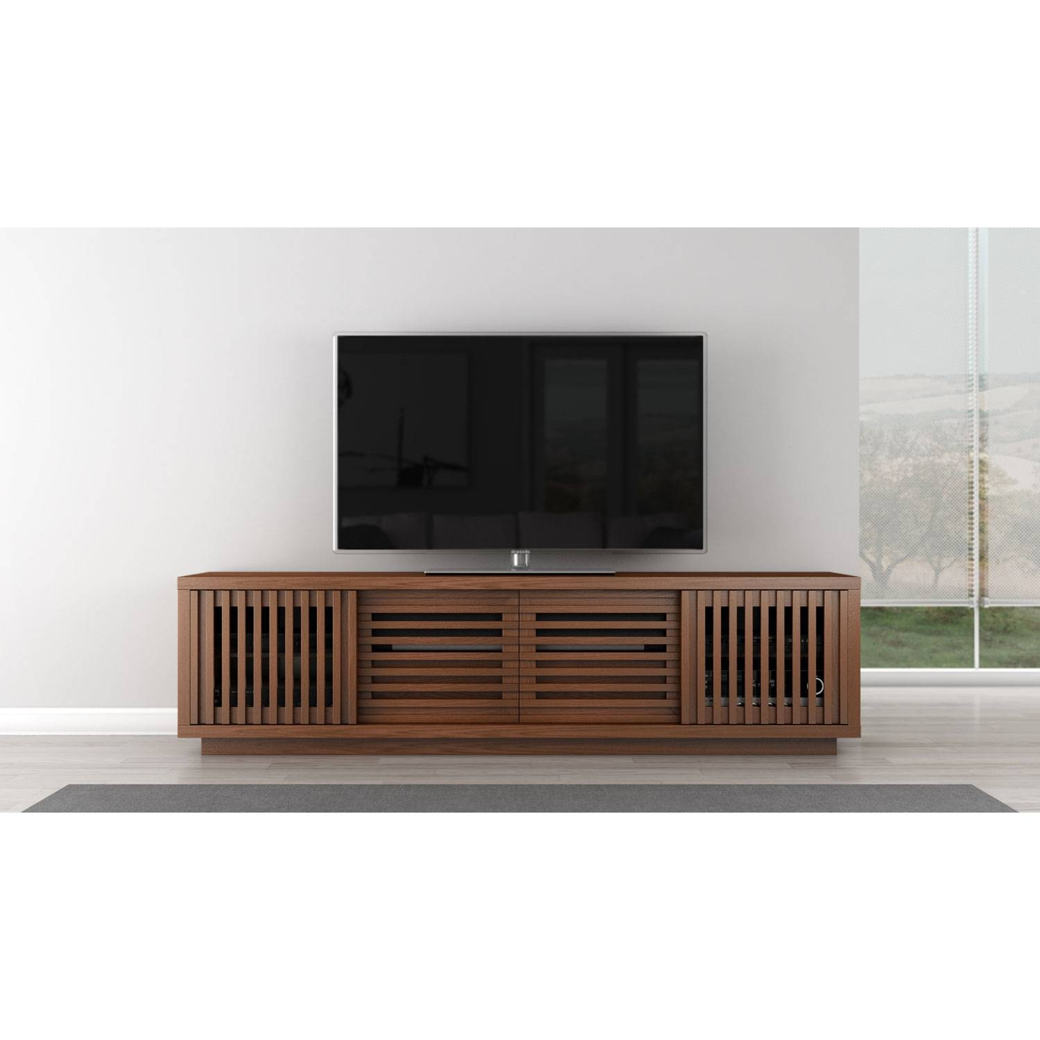 Signature Contemporary Rustic 82 Inch Warm Honey Finished White With Honey Oak Tv Stands (View 2 of 15)