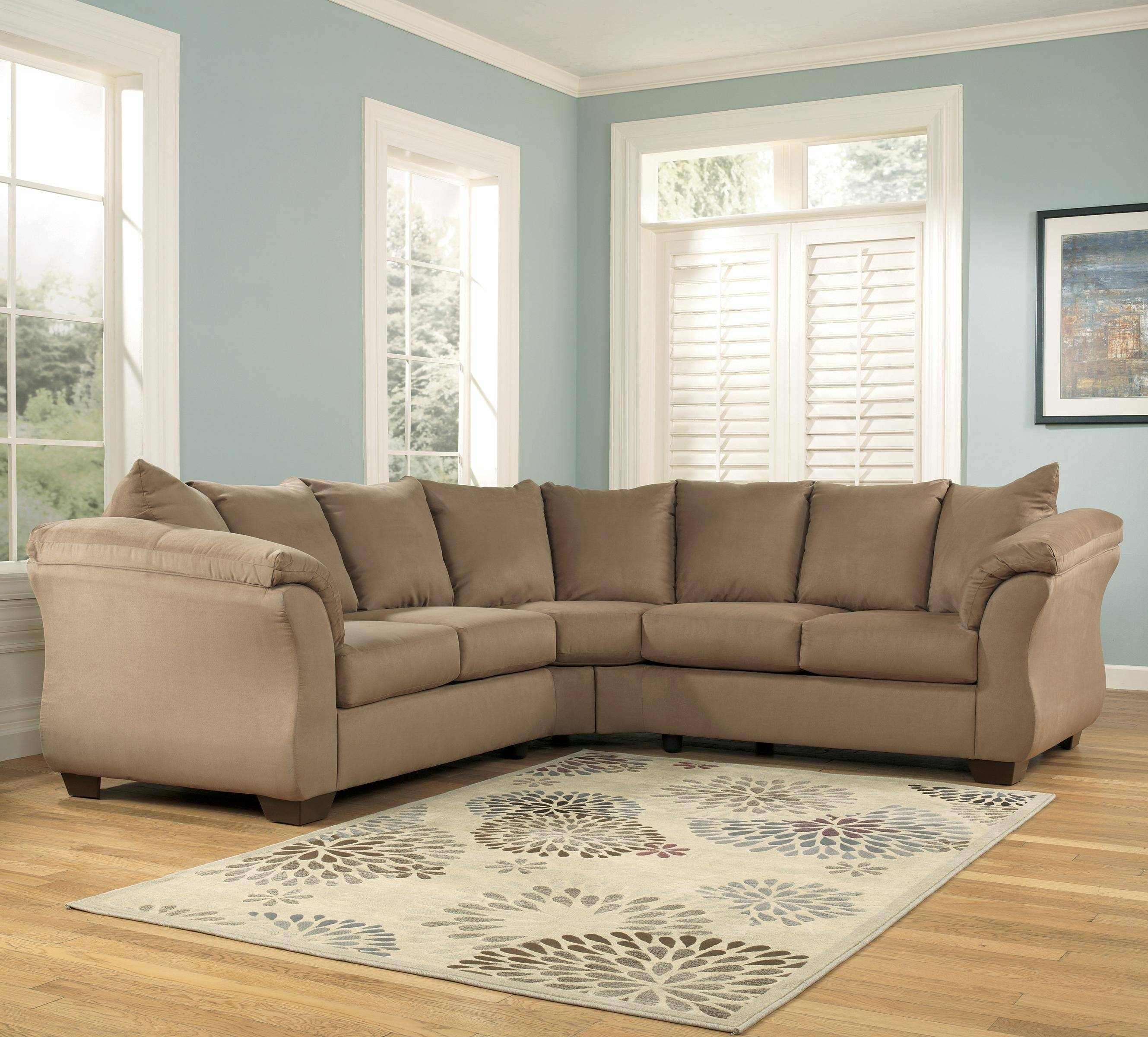 Signature Designashley Darcy - Mocha Contemporary Sectional pertaining to Signature Design Sectional Sofas (Image 11 of 15)
