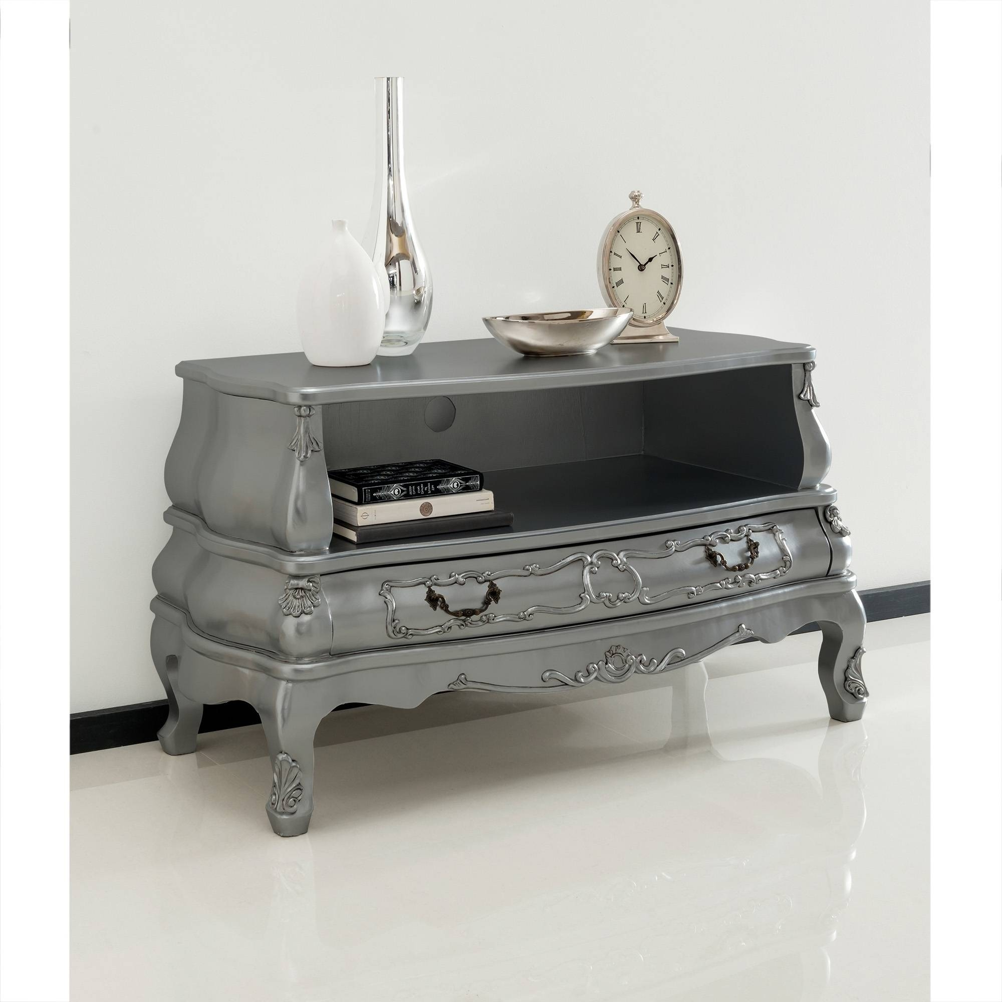 Silver Bergere Antique French Tv Cabinet | Ornate Detailed inside French Style Tv Cabinets (Image 14 of 15)