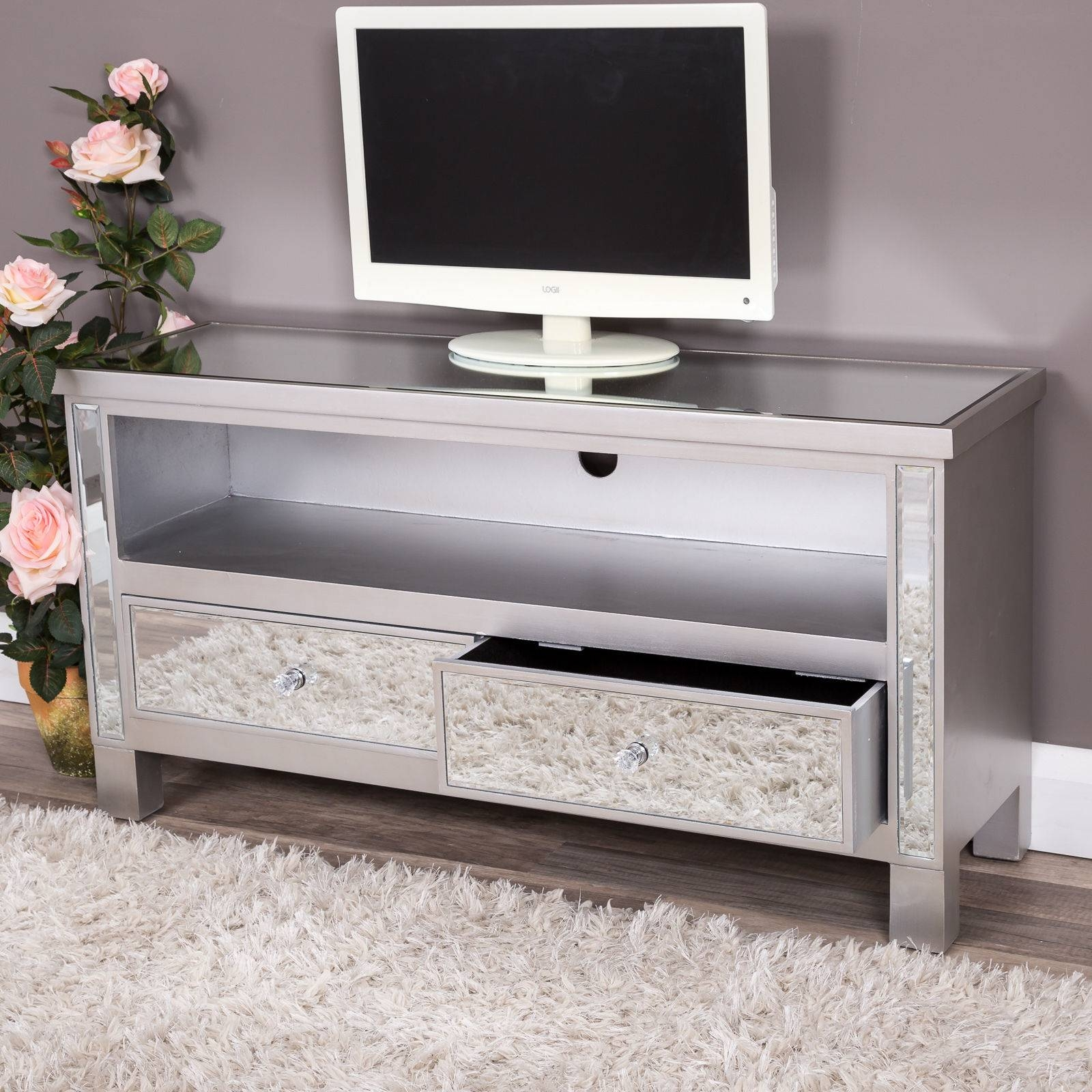 Silver Mirrored Glass 2 Drawer Tv Entertainment Cabinet Stand Unit inside Mirror Tv Cabinets (Image 11 of 15)