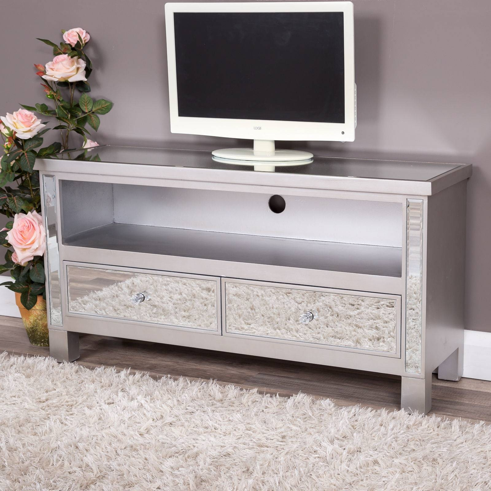 Silver Mirrored Glass 2 Drawer Tv Entertainment Cabinet Stand Unit Intended For Cabinets Furniture