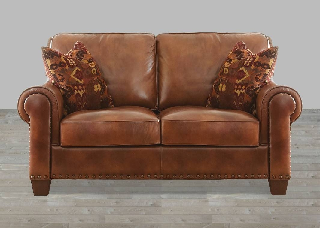 Silverado Leather Loveseat With 2 Accent Pillows regarding Camel Colored Leather Sofas (Image 12 of 15)