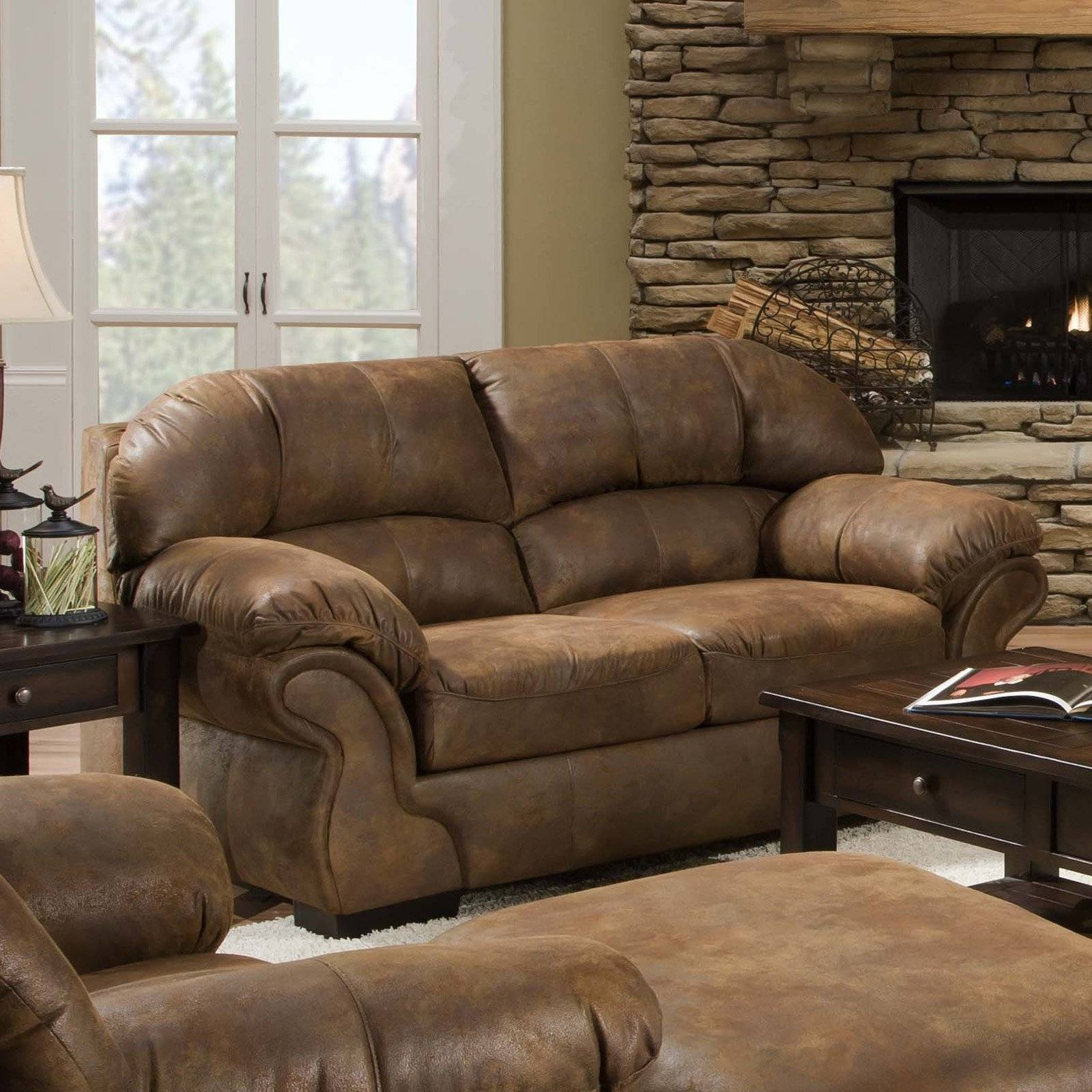 Simmons Pinto Tobacco Leather Loveseat | Hayneedle intended for Simmons Leather Sofas (Image 9 of 15)