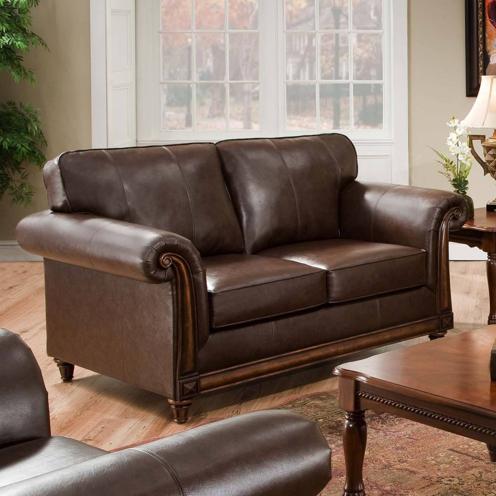 Simmons San Diego Coffee Leather Loveseat | Hayneedle in Simmons Leather Sofas (Image 10 of 15)