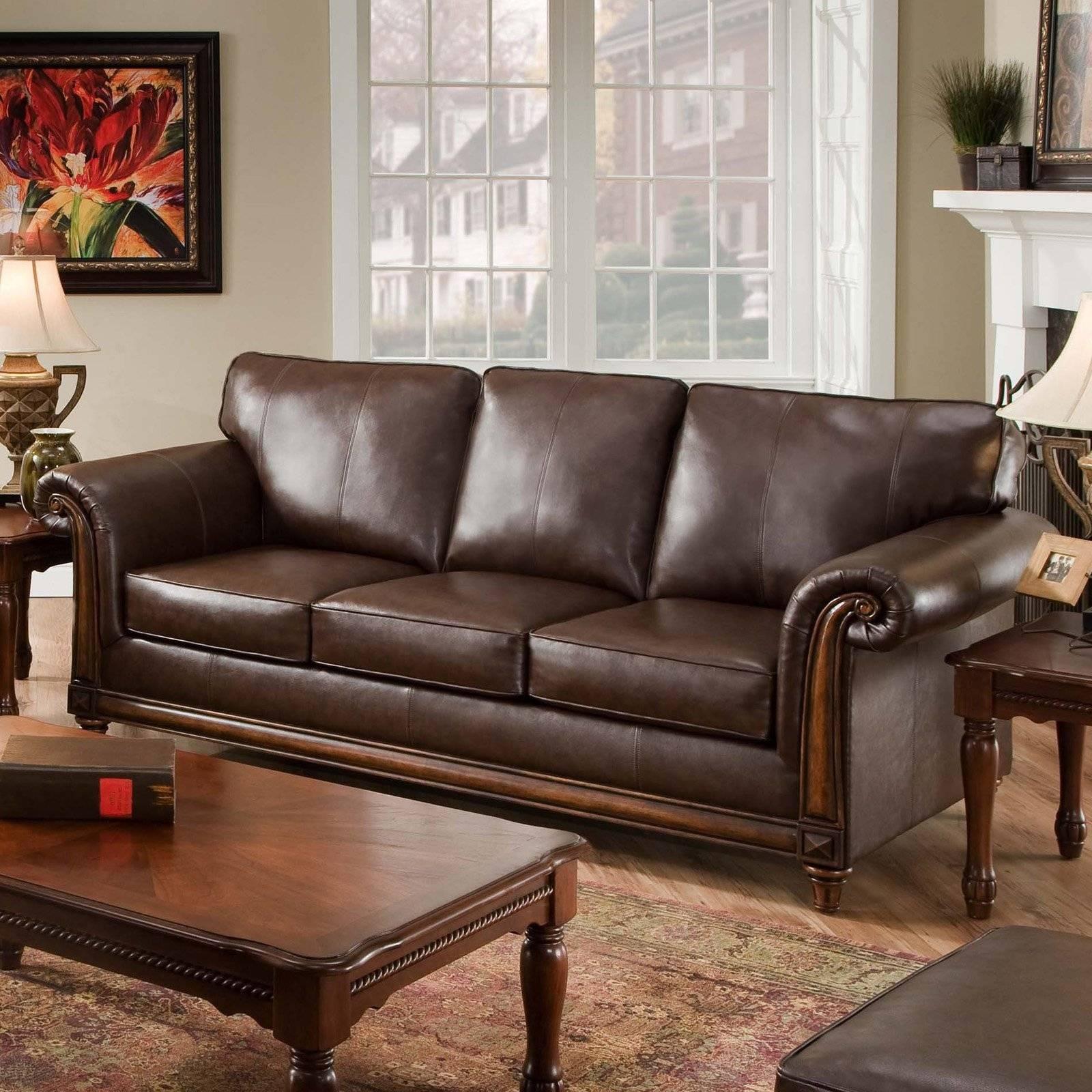 Simmons San Diego Coffee Leather Sofa | Hayneedle inside Simmons Leather Sofas (Image 11 of 15)