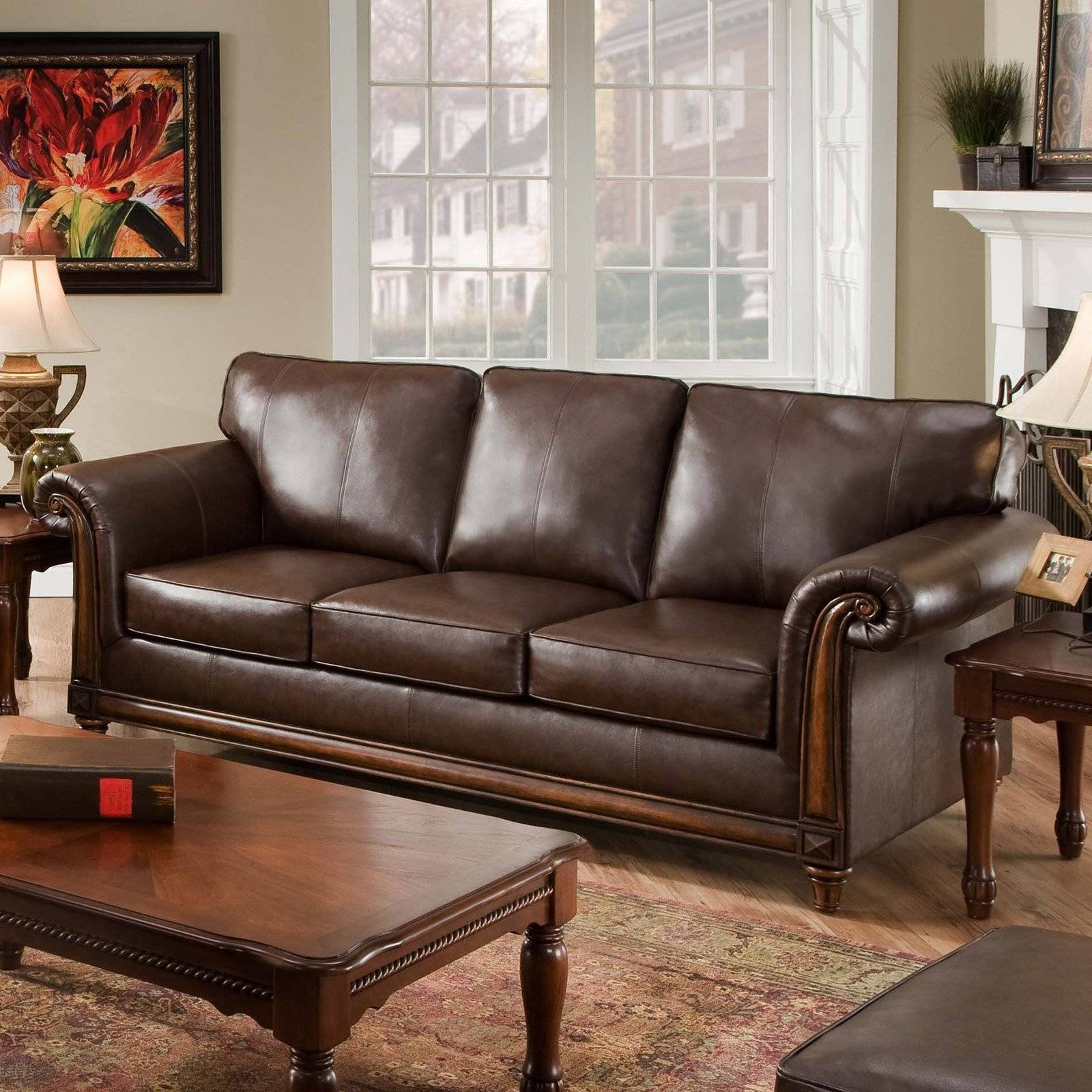 Simmons San Diego Coffee Leather Sofa | Hayneedle inside Simmons Sofas (Image 7 of 15)