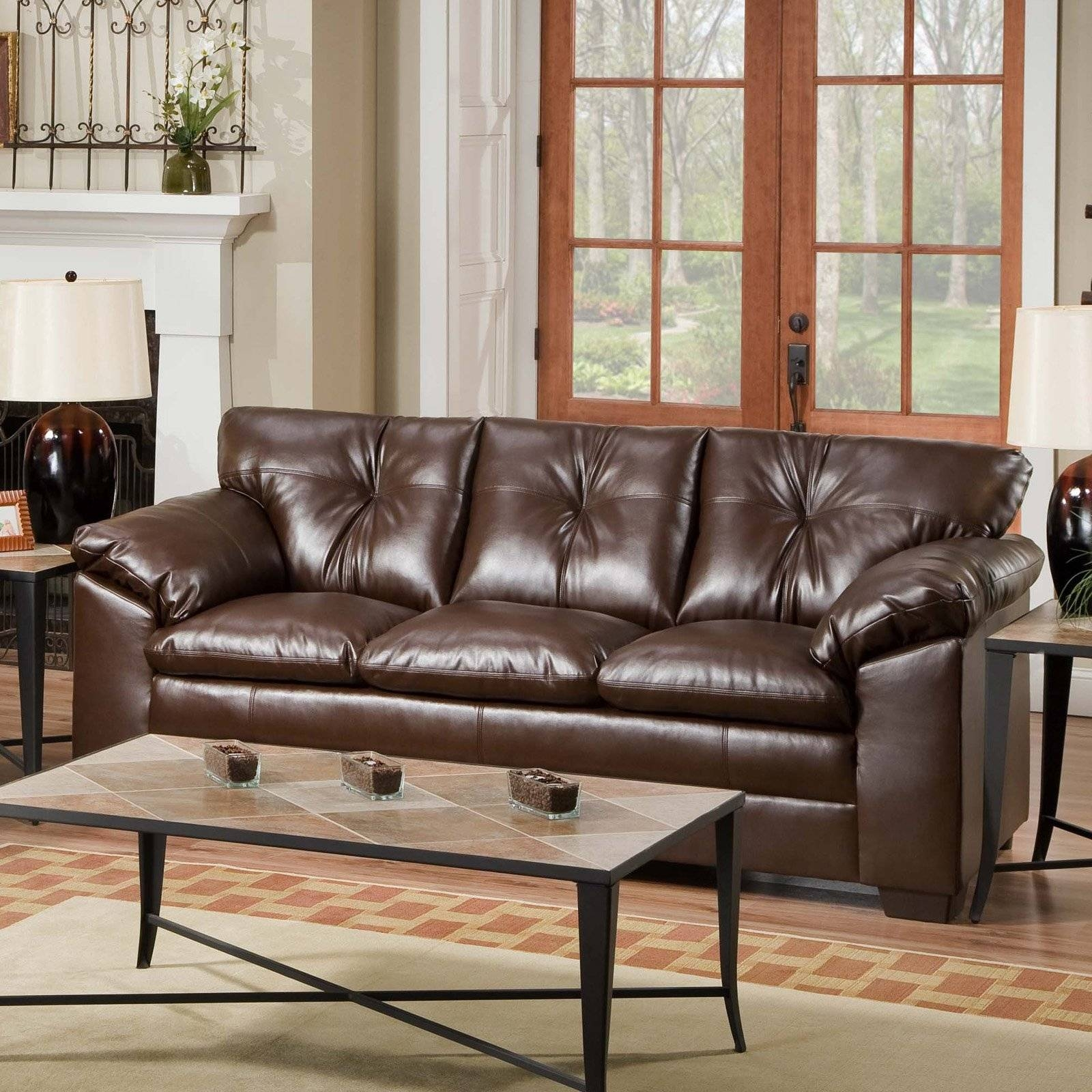 Simmons Sebring Black Leather Sofa - Sofas & Loveseats At Hayneedle with regard to Simmons Leather Sofas (Image 12 of 15)