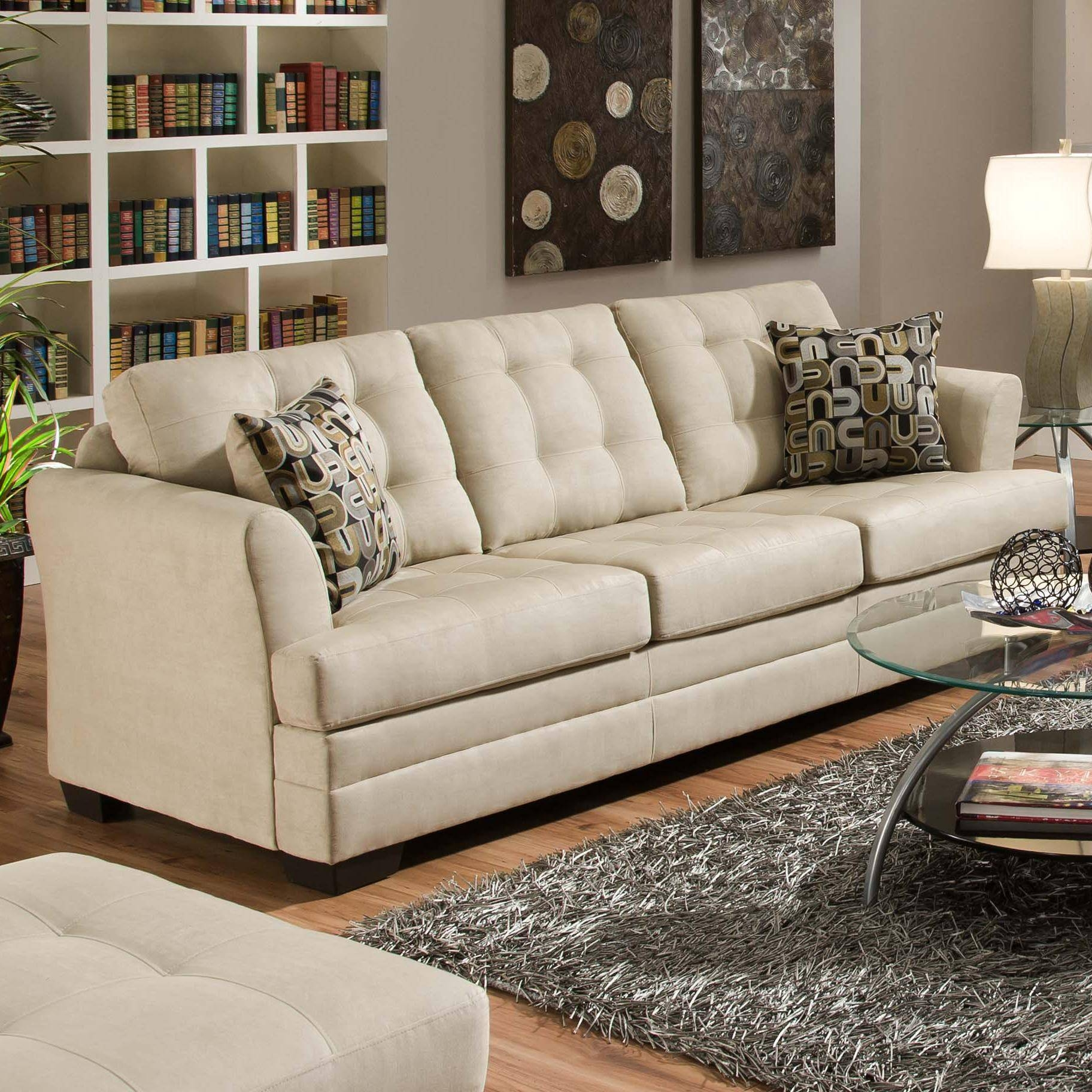 Simmons Upholstery 2057 Contemporarty Sofa With Tufted Cushions within Simmons Sofas (Image 9 of 15)
