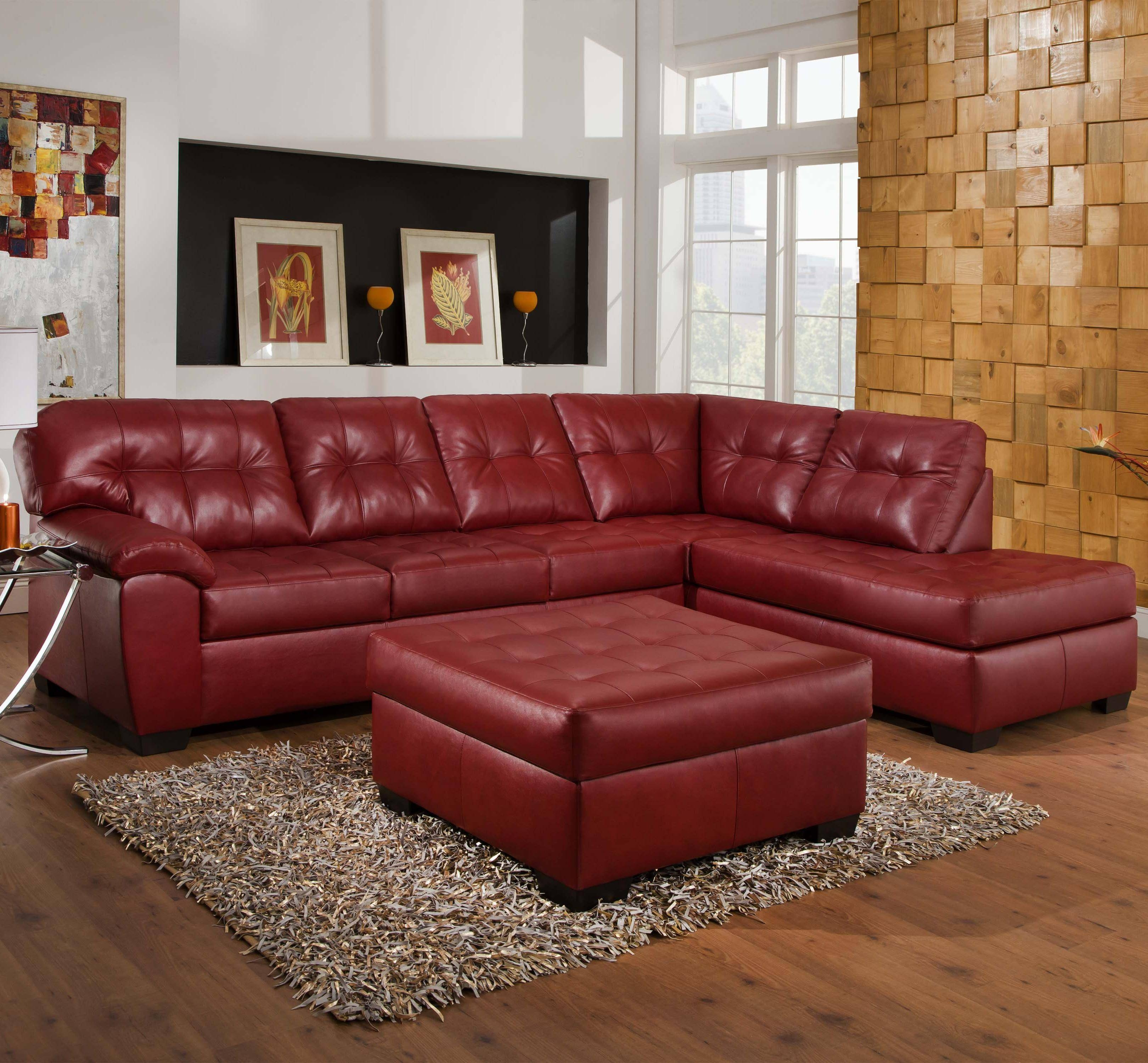 Simmons Upholstery 9569 2 Piece Sectional With Tufted Seats & Back regarding Simmons Leather Sofas (Image 13 of 15)