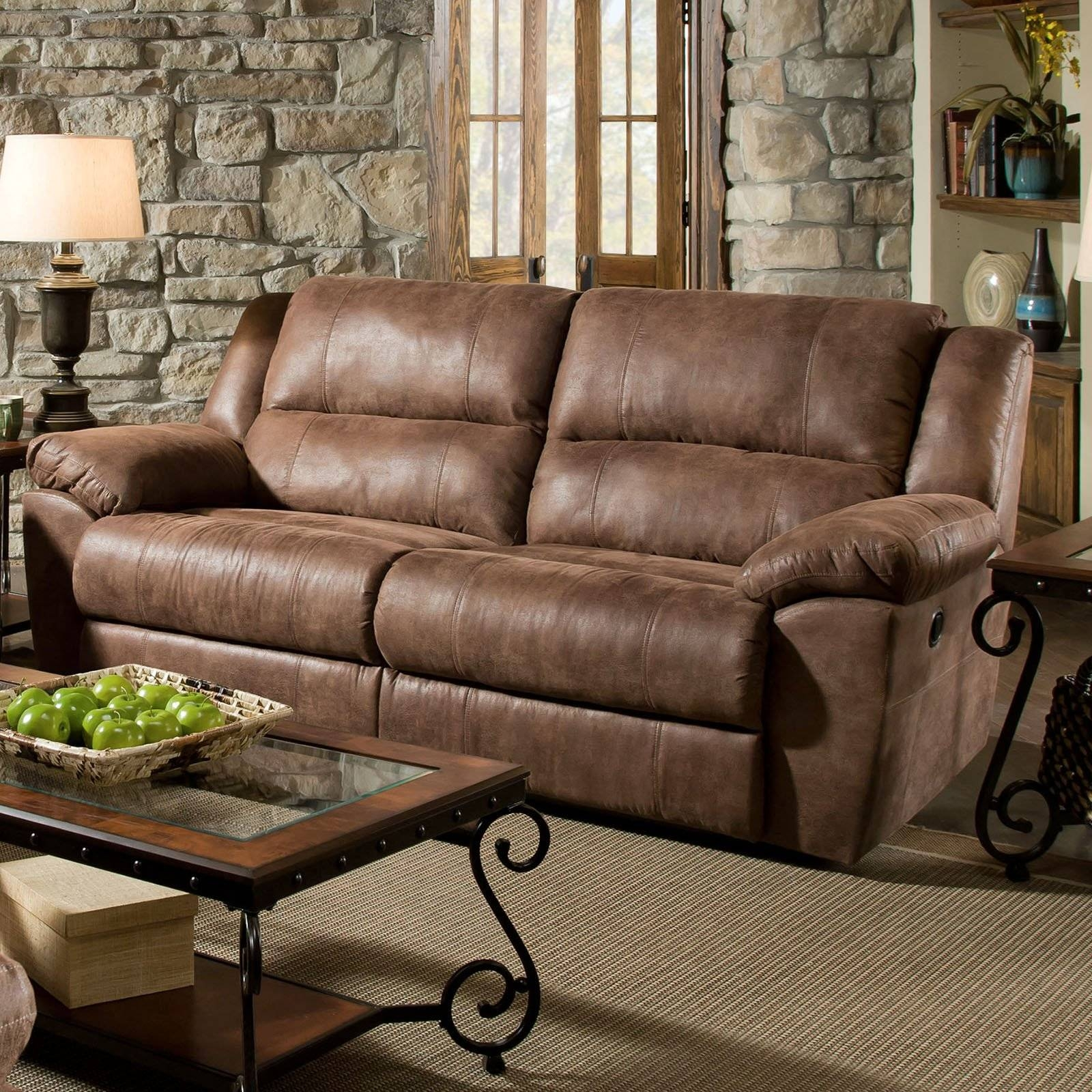 Simmons Upholstery Phoenix Double Motion Sofa - Mocha - Walmart in Simmons Sofas (Image 14 of 15)
