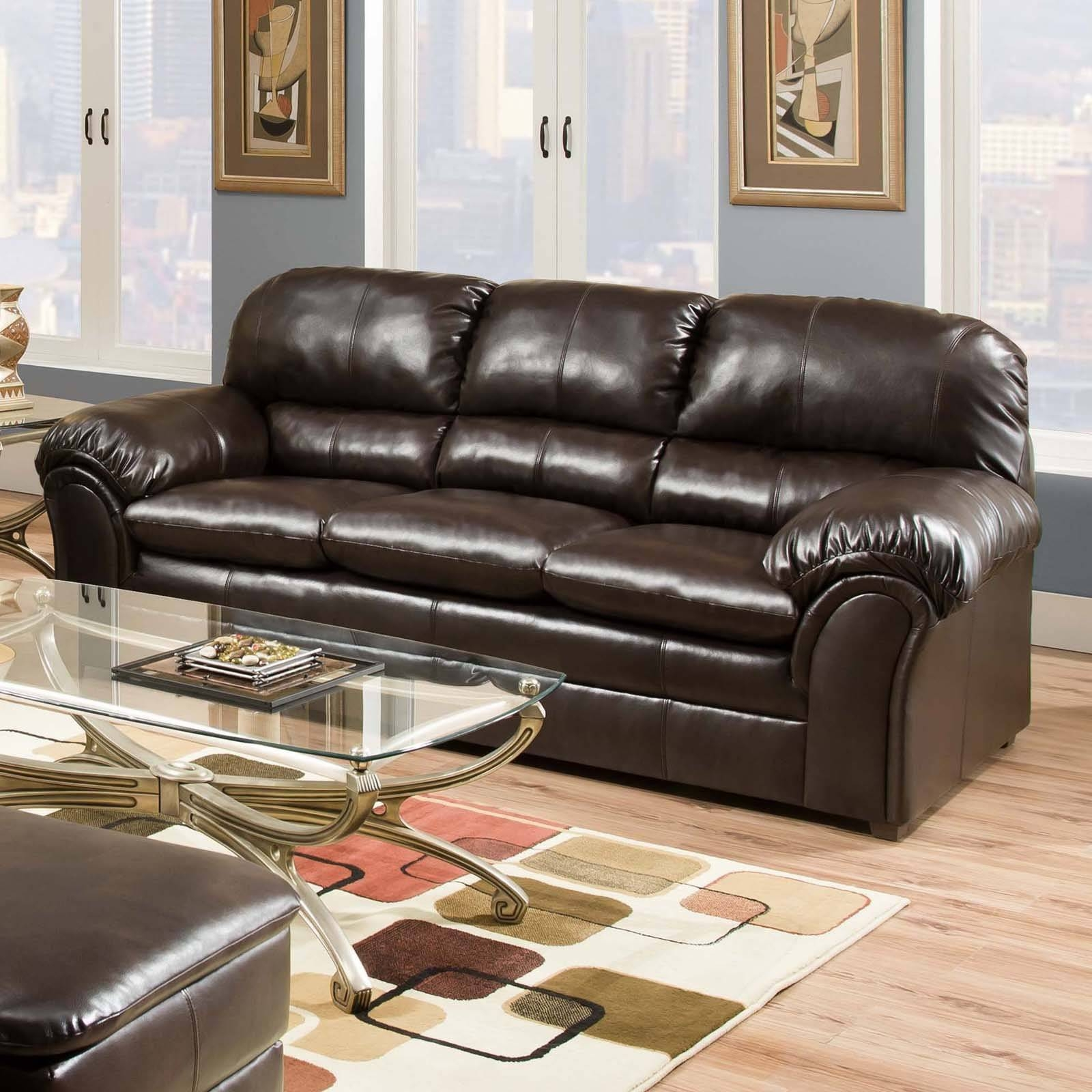 Simmons Upholstery Vintage Riverside Bonded Leather Sofa - Walmart inside Simmons Bonded Leather Sofas (Image 14 of 15)