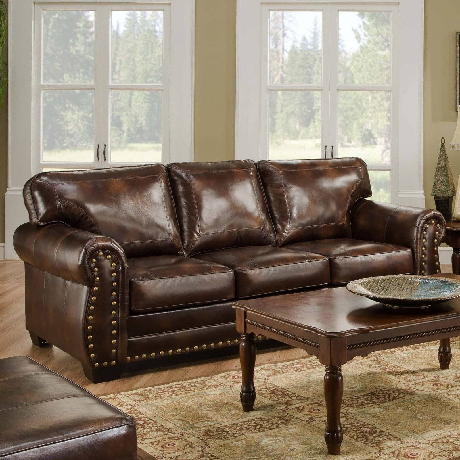 Simmons Vintage Encore Leather Sofa With Nail Heads | Hayneedle Within Simmons Leather Sofas And Loveseats (View 14 of 15)