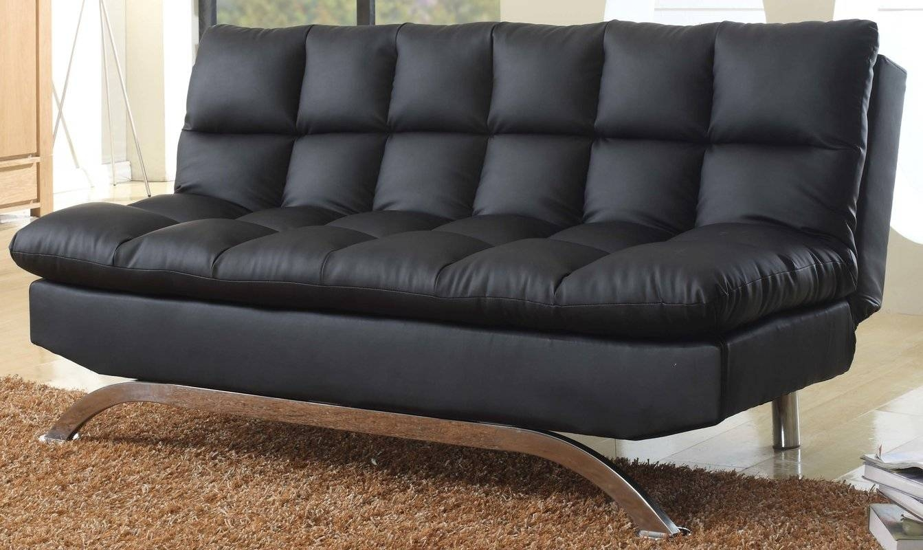 Simona Leather Convertible Sofa | Centerfieldbar inside Black Leather Convertible Sofas (Image 11 of 15)